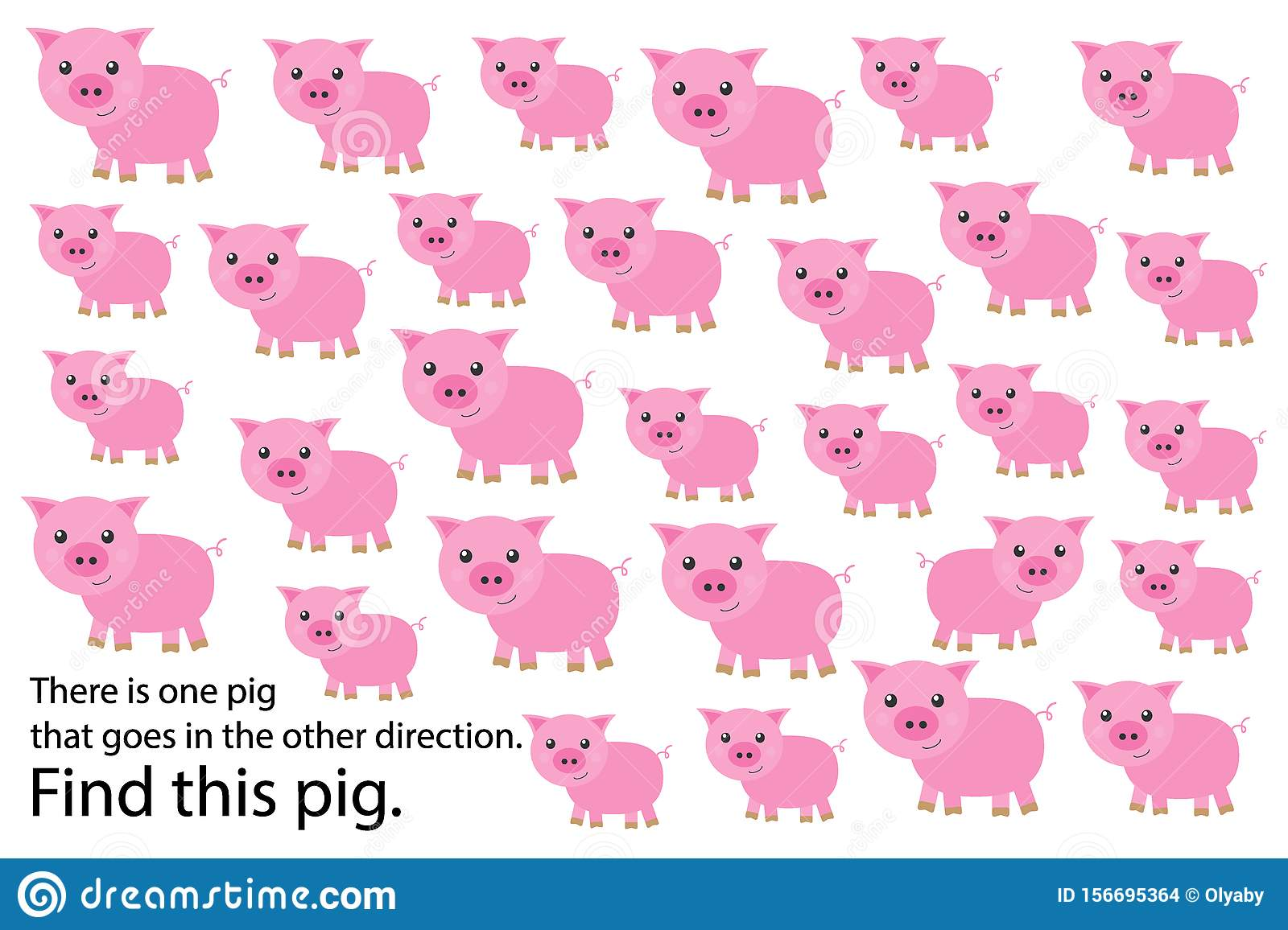 Find Pig That Goes In Other Direction Education Puzzle