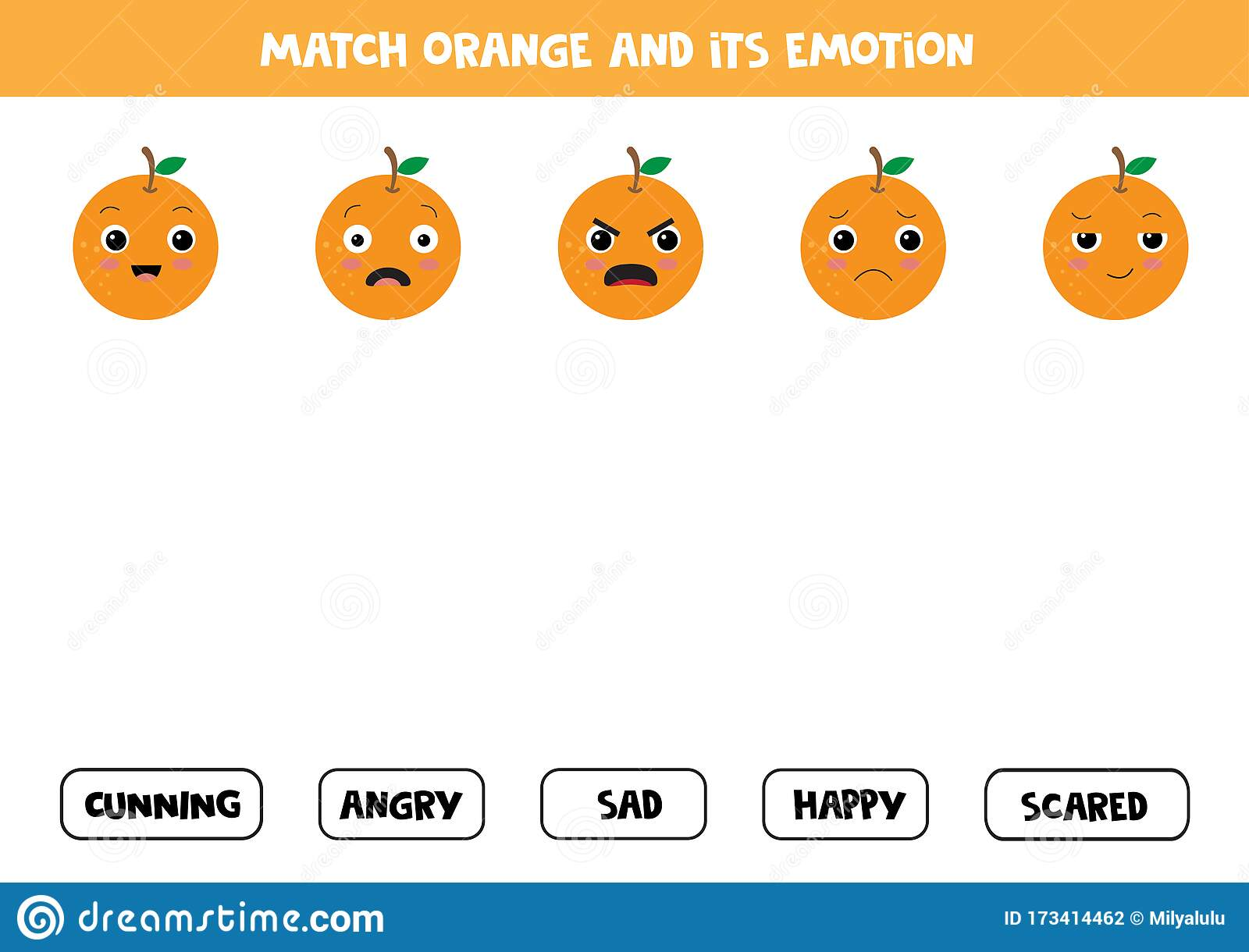 Find The Right Emotions Of Cartoon Orange Game For
