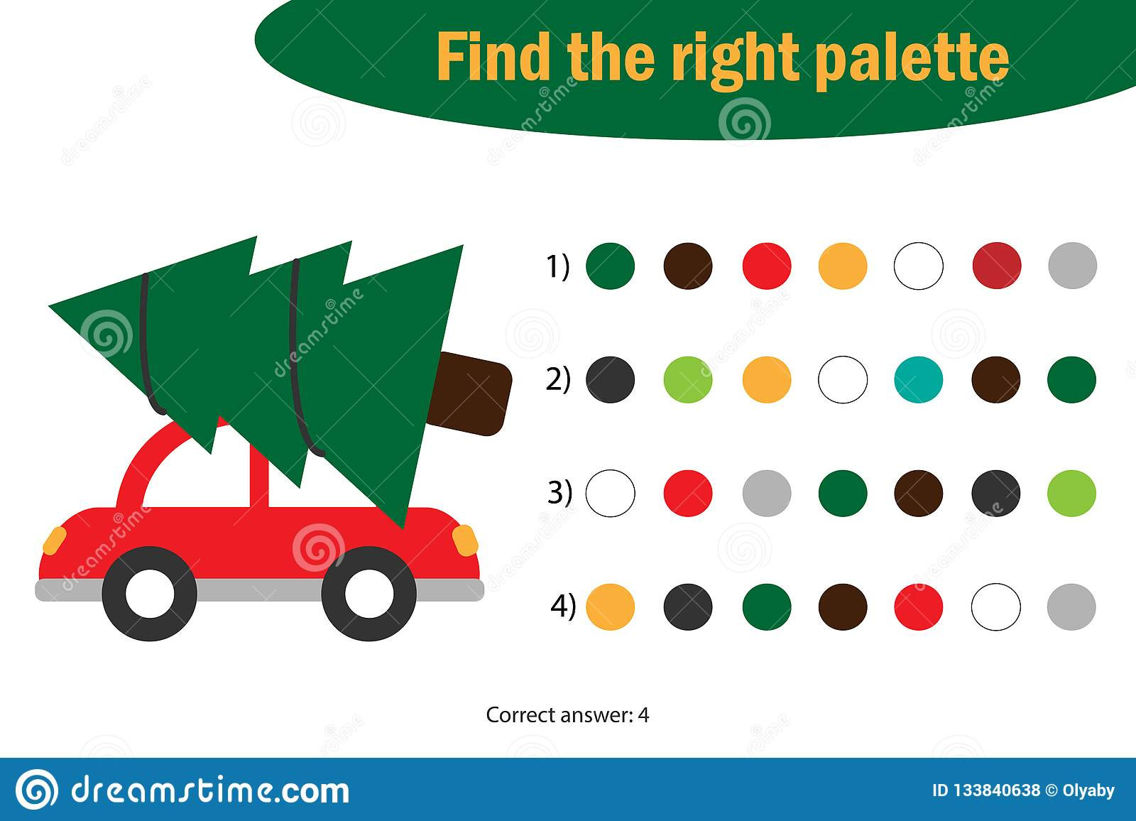 Find The Right Palette To The Picture Xmas Tree On The