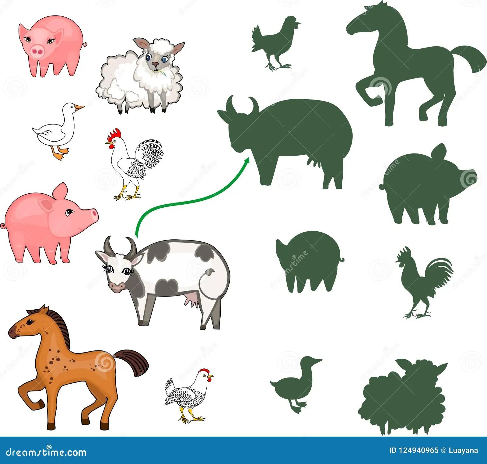 Farm Animals Matching Worksheet For Preschool