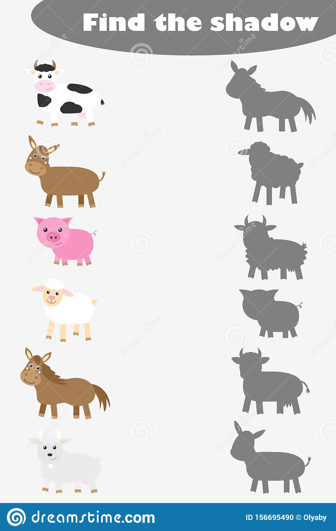 Find The Shadow Game For Children Farm Animals In Cartoon