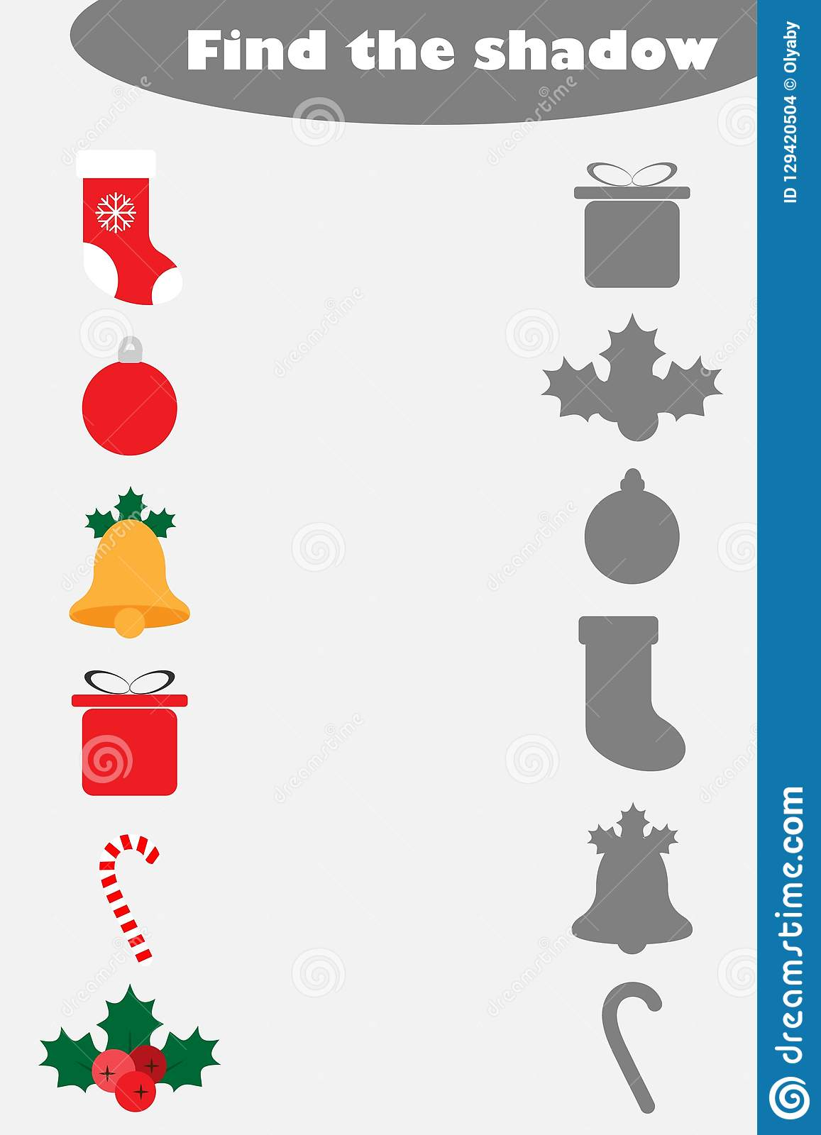Find The Shadow Game With Christmas Pictures For Children