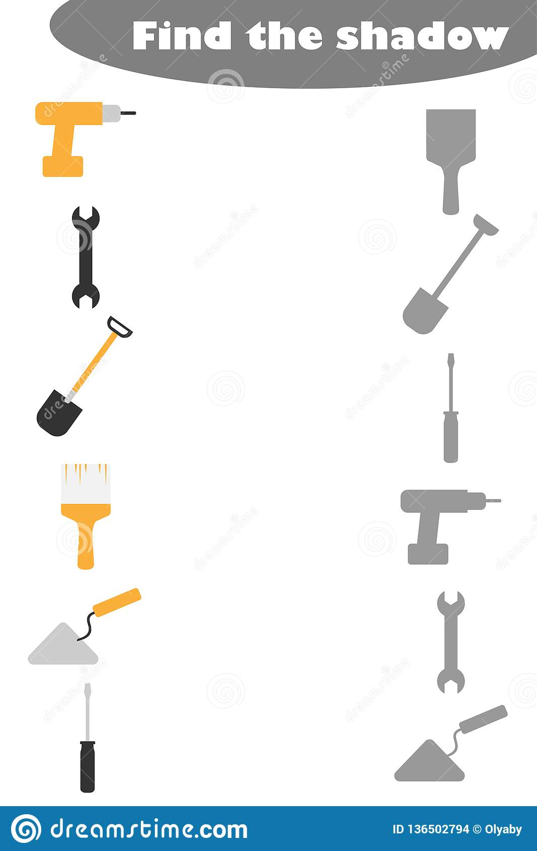 Find The Shadow Game With Construction Pictures For