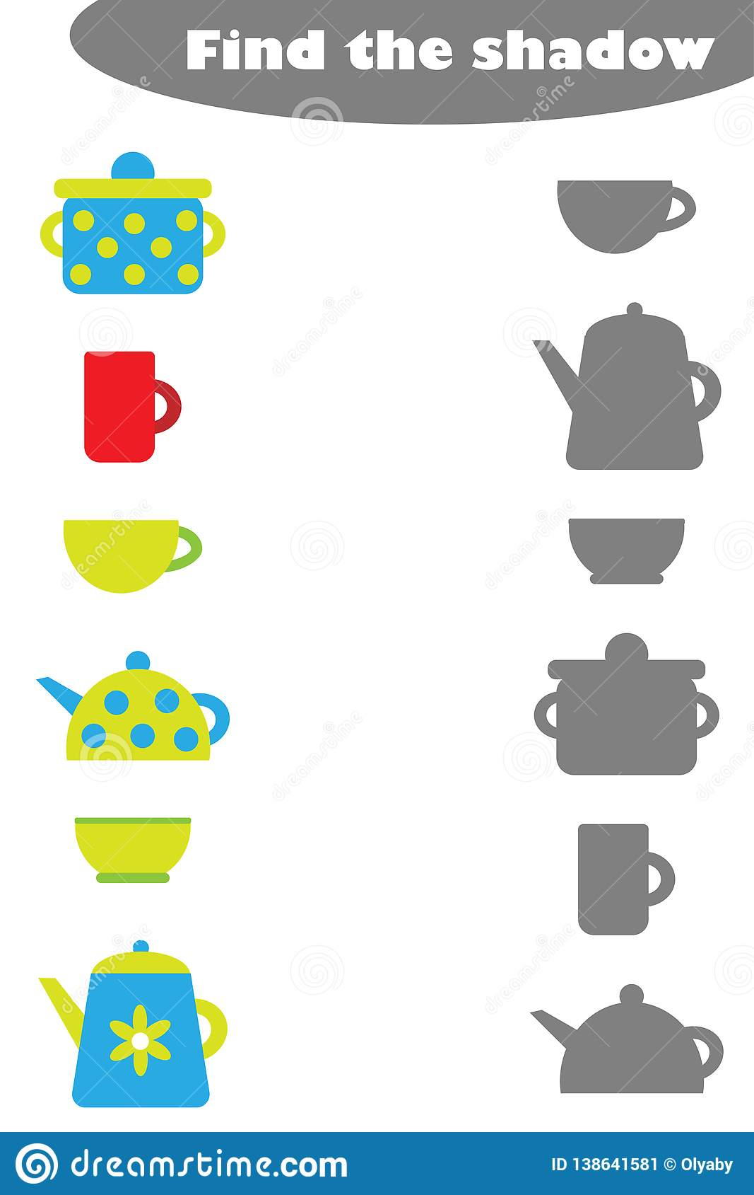 Find The Shadow Game With Kitchen Pictures For Children