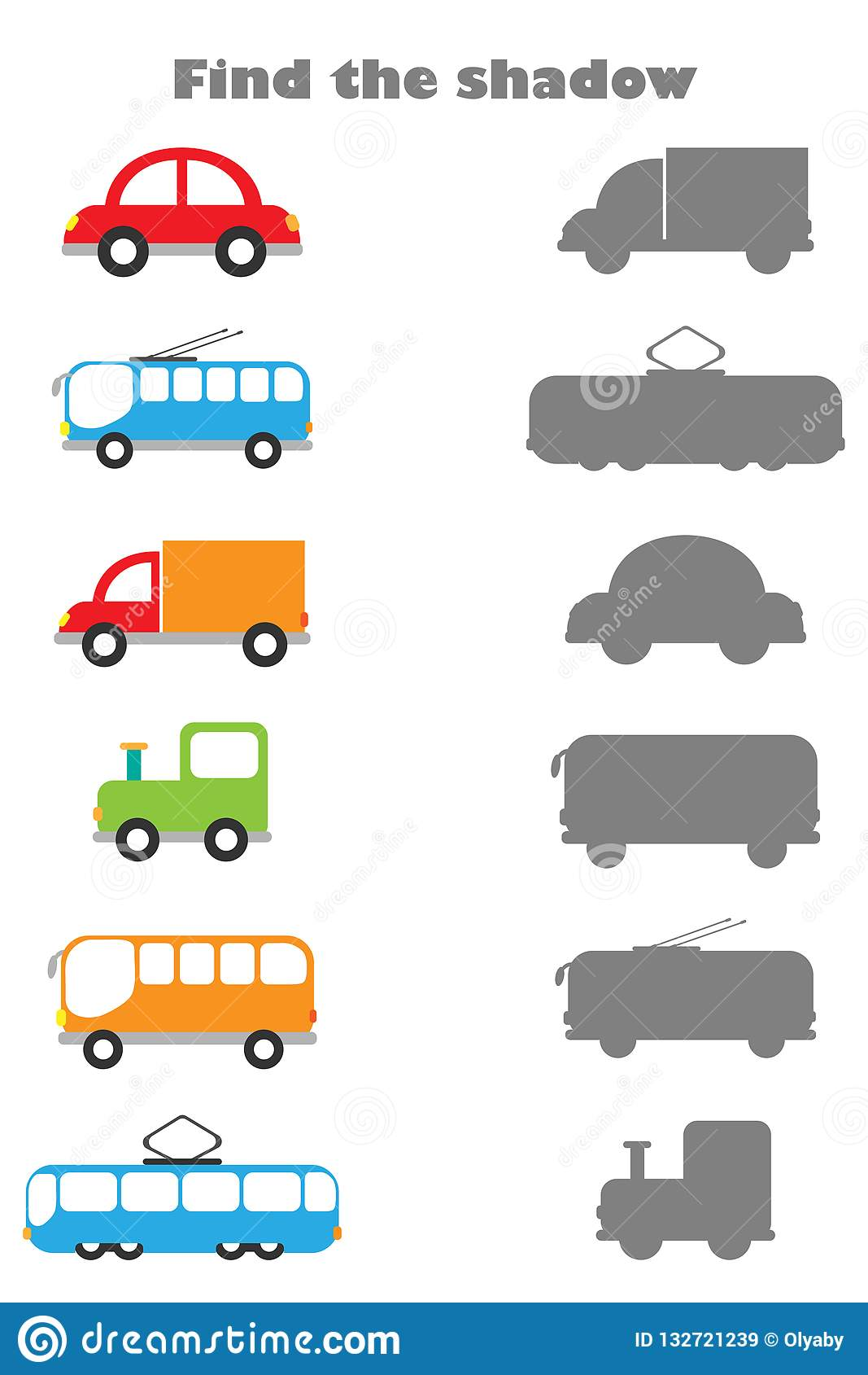 Find The Shadow Game With Pictures Of Transport For