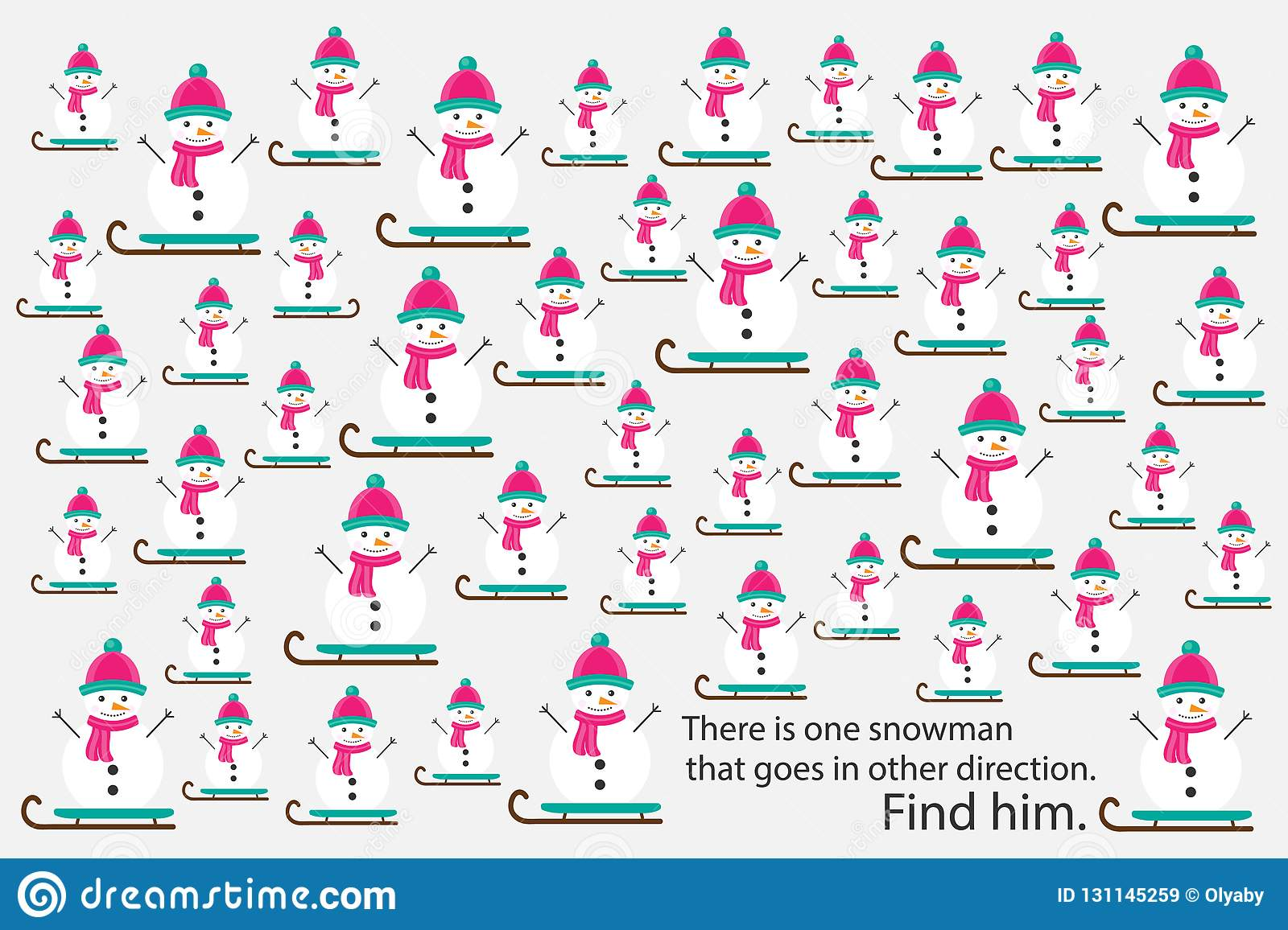 Find Snowman That Goes In Other Direction Xmas Education