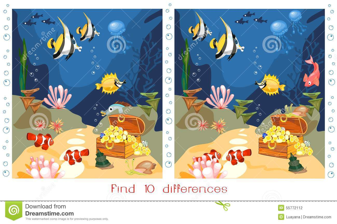 Find Ten Differences Stock Vector Illustration Of