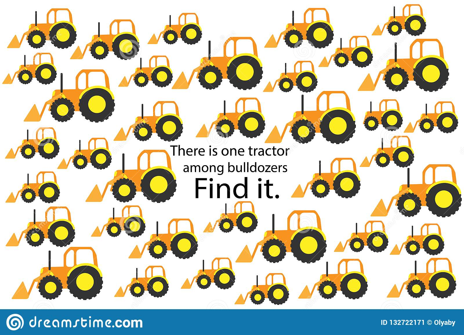 Find Tractor Among Bulldozers Fun Education Puzzle Game With Transport For Children Preschool