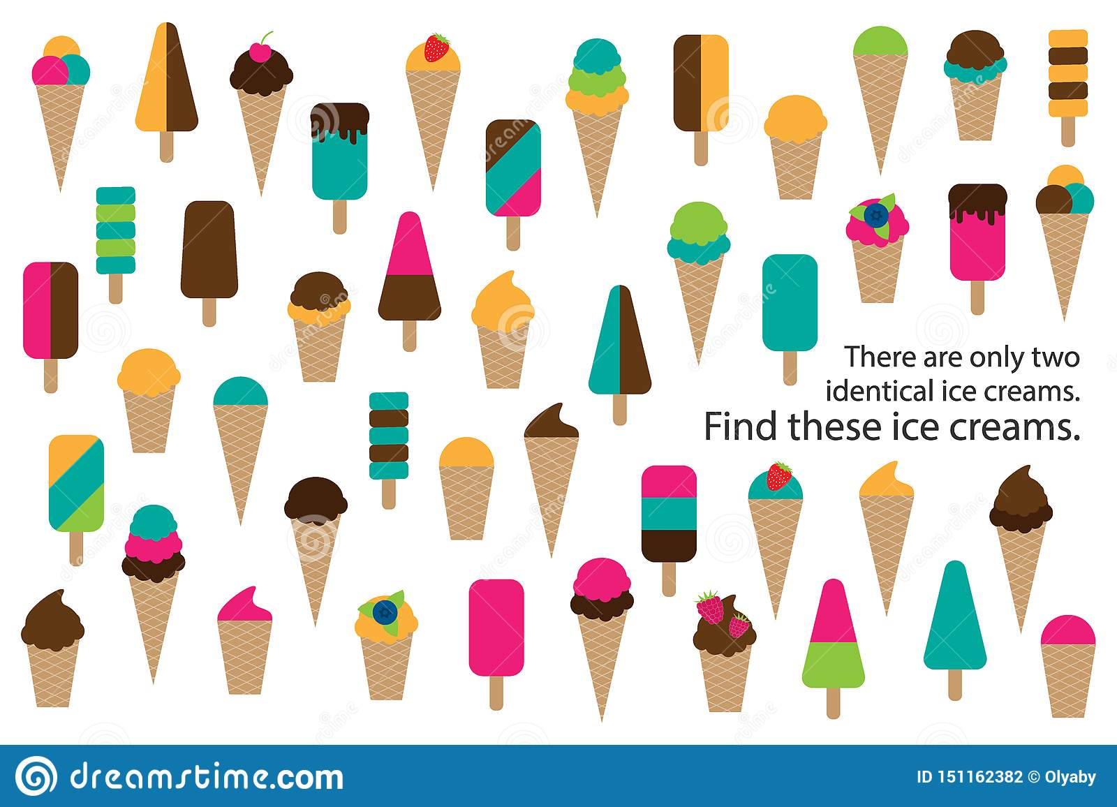 Find Two Identical Ice Creams Summer Fun Education Puzzle