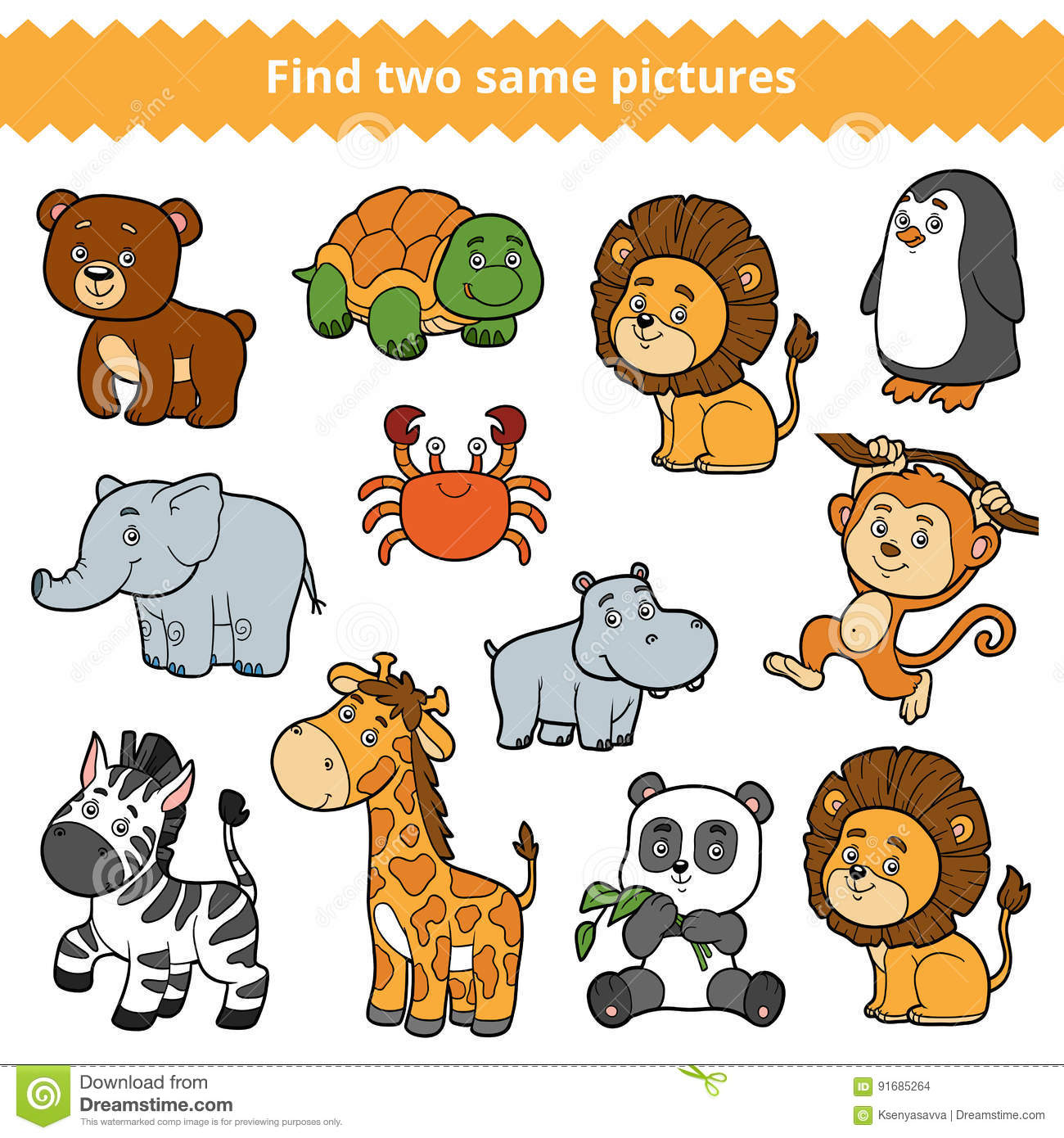 Find Two Identical Pictures Education Game Set Of Zoo