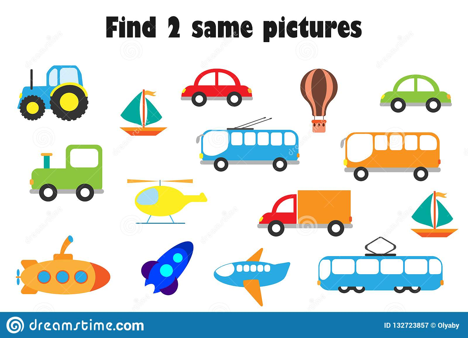 Find Two Identical Pictures Fun Education Game With