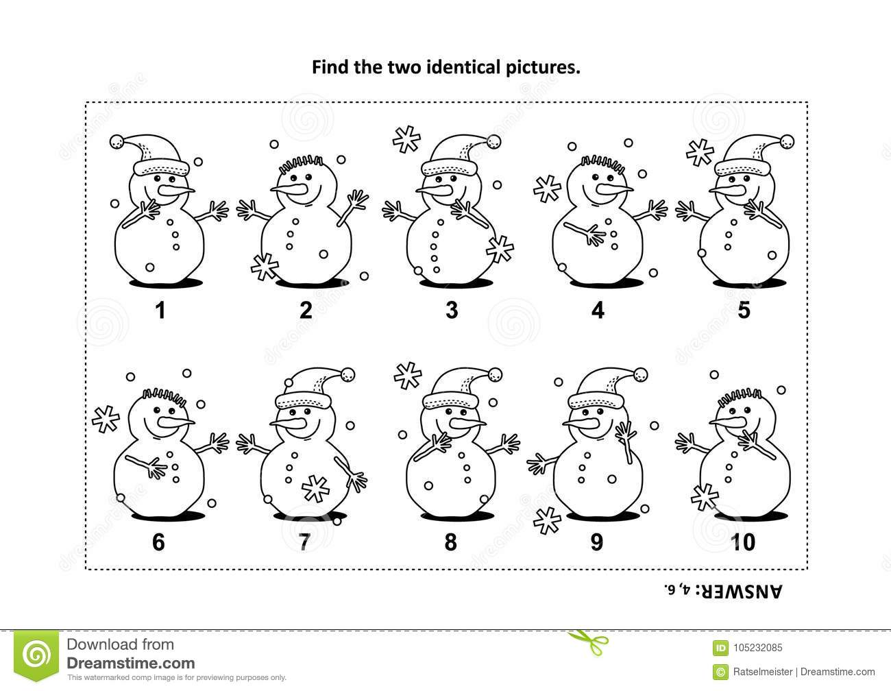 Find The Two Identical Pictures With Snowman Visual Puzzle