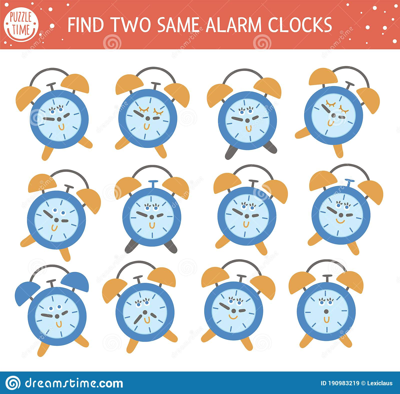 Find Two Same Alarm Clocks Back To School Matching