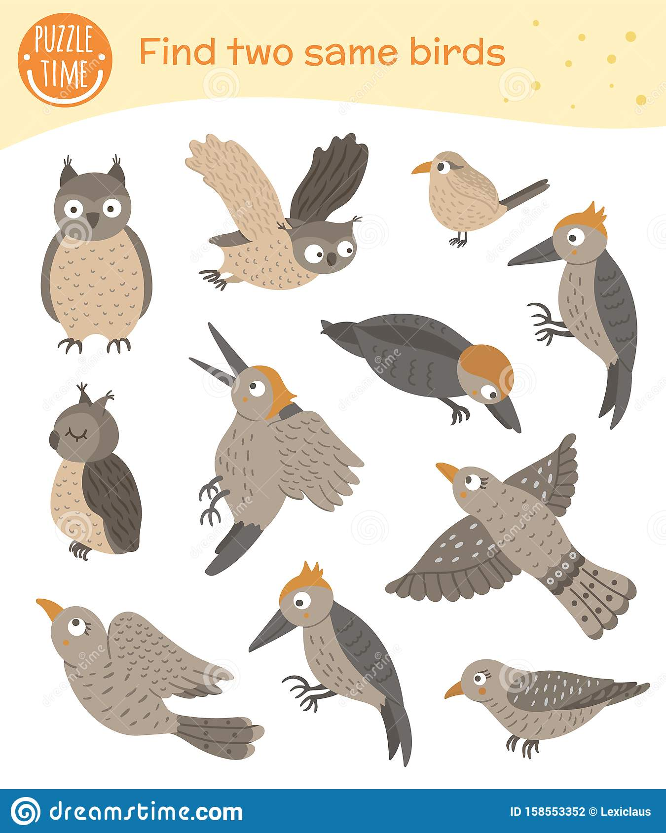 Find Two Same Birds Matching Activity For Preschool