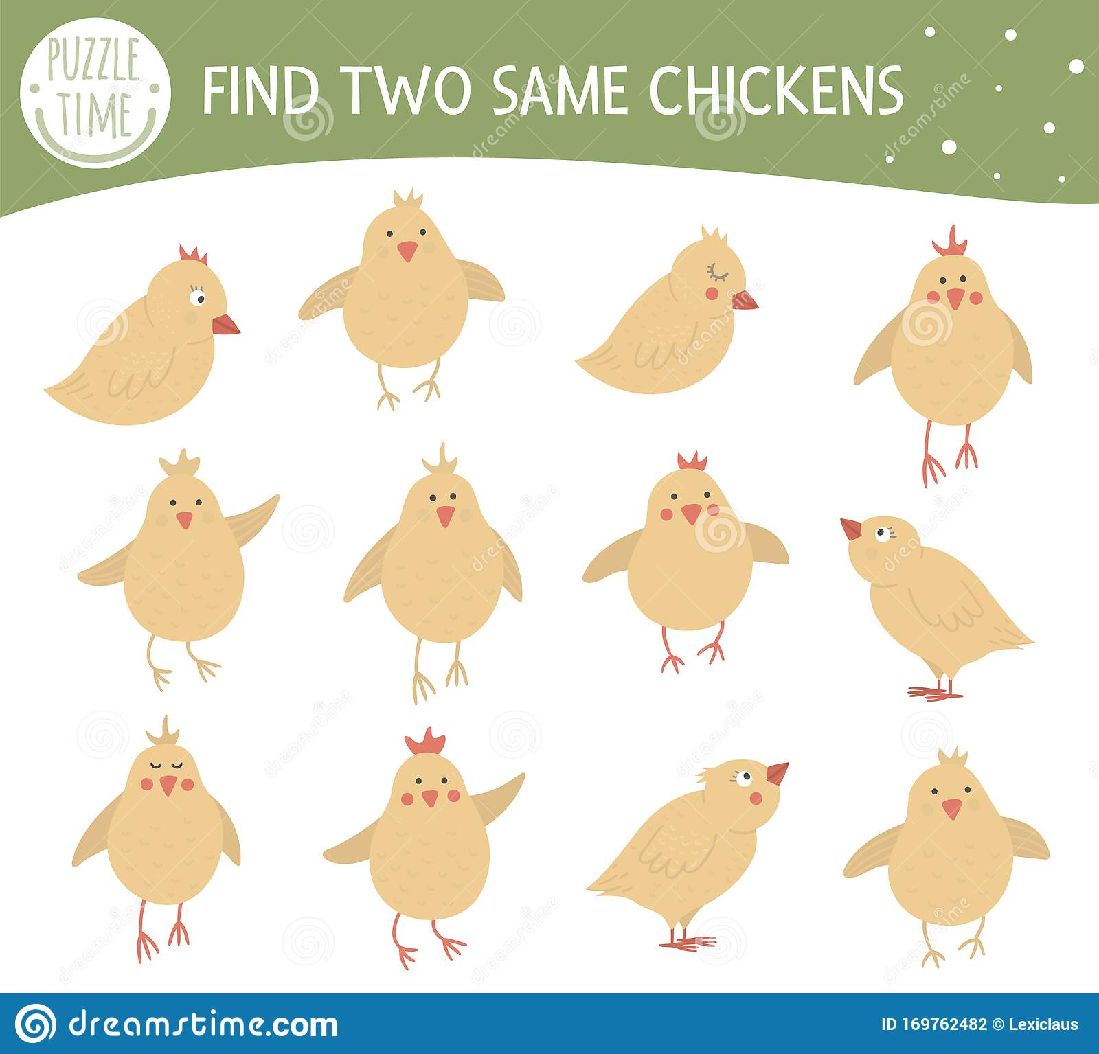 Find Two Same Chickens Easter Matching Activity For