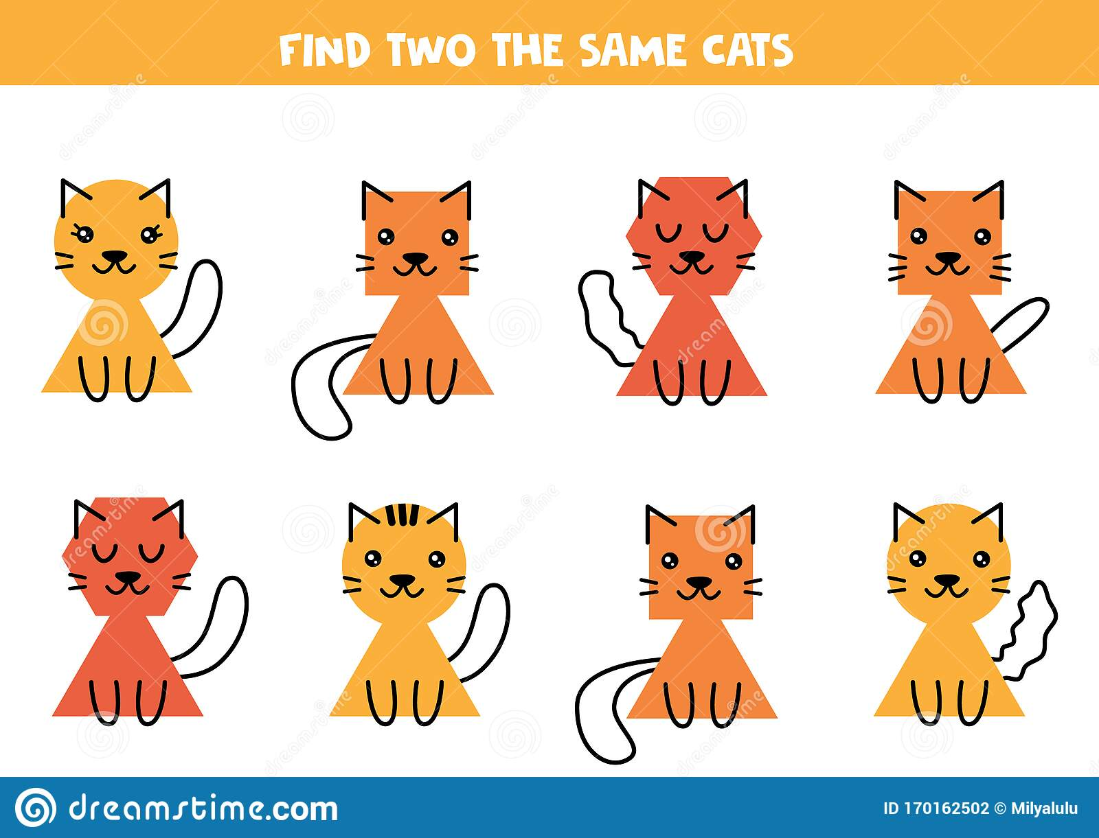 Find Two The Same Cute Cats Educational Worksheet For