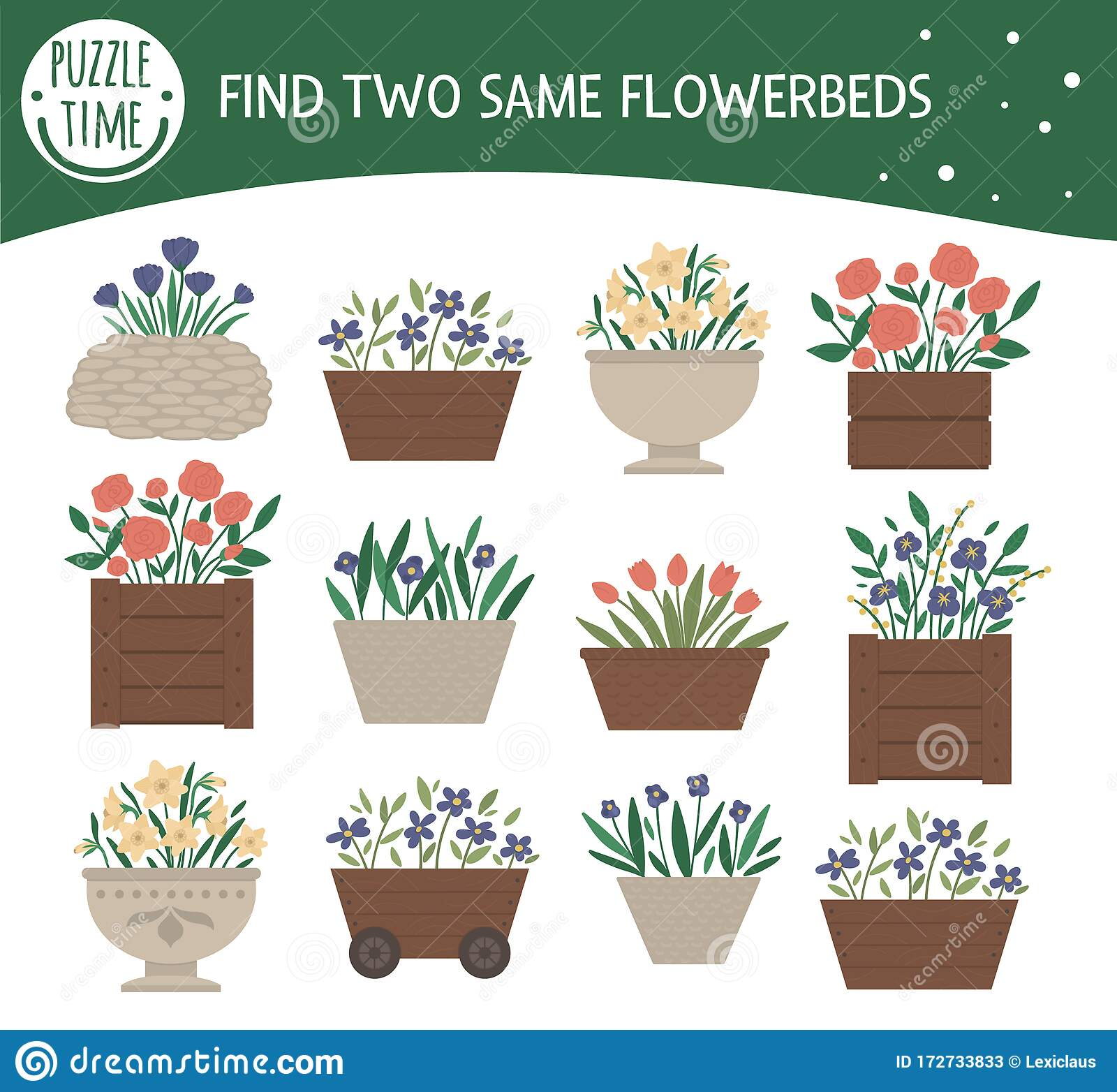 Find Two Same Flower Beds Garden Or Park Themed Matching