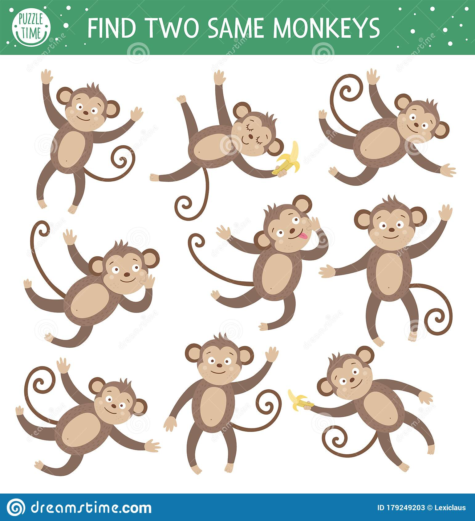 Find Two Same Monkeys Tropical Matching Activity For