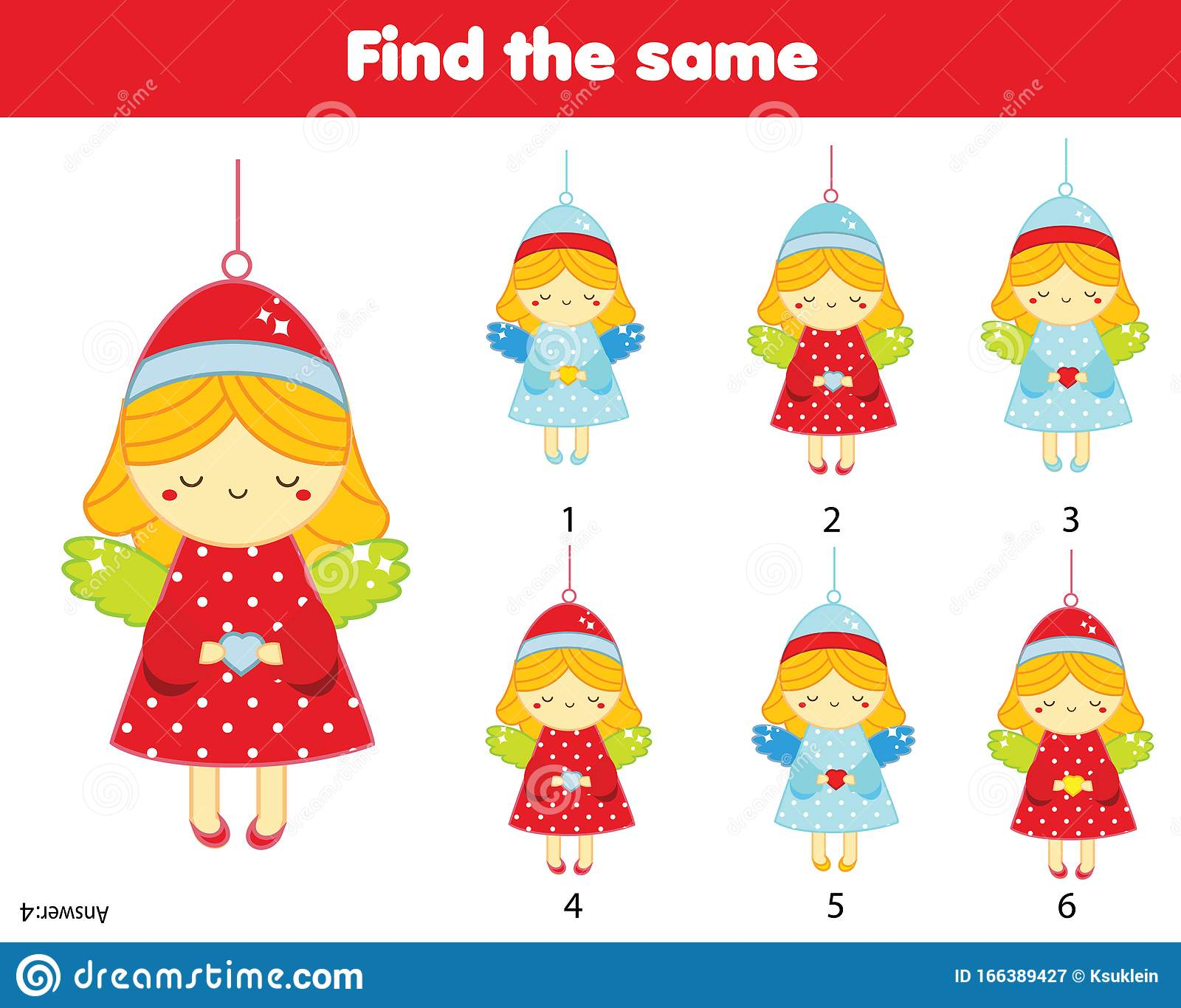 Find Two Same Pictures Christmas Angels New Year Theme