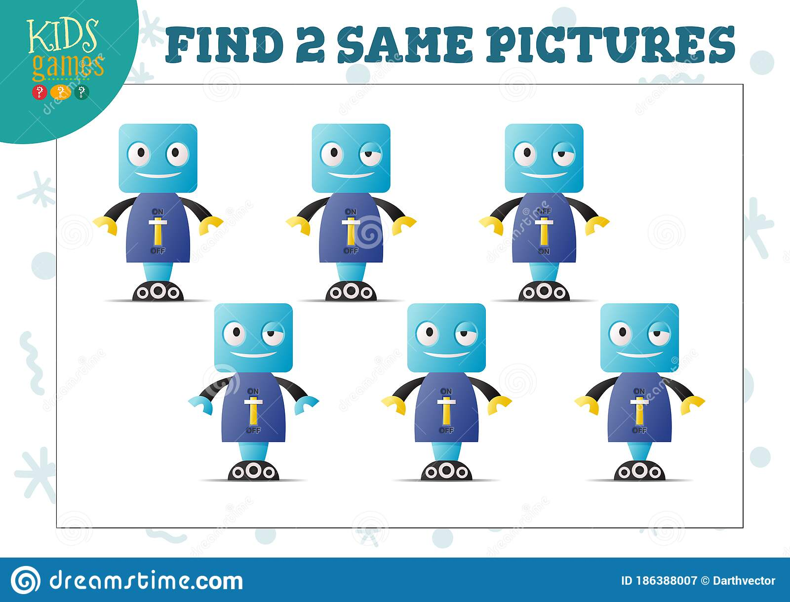Find Two Same Pictures Kids Puzzle Vector Illustration