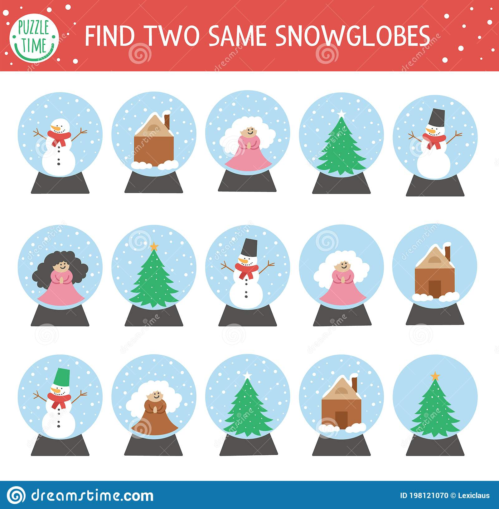 Find Two Same Snow Globes Christmas Matching Activity For