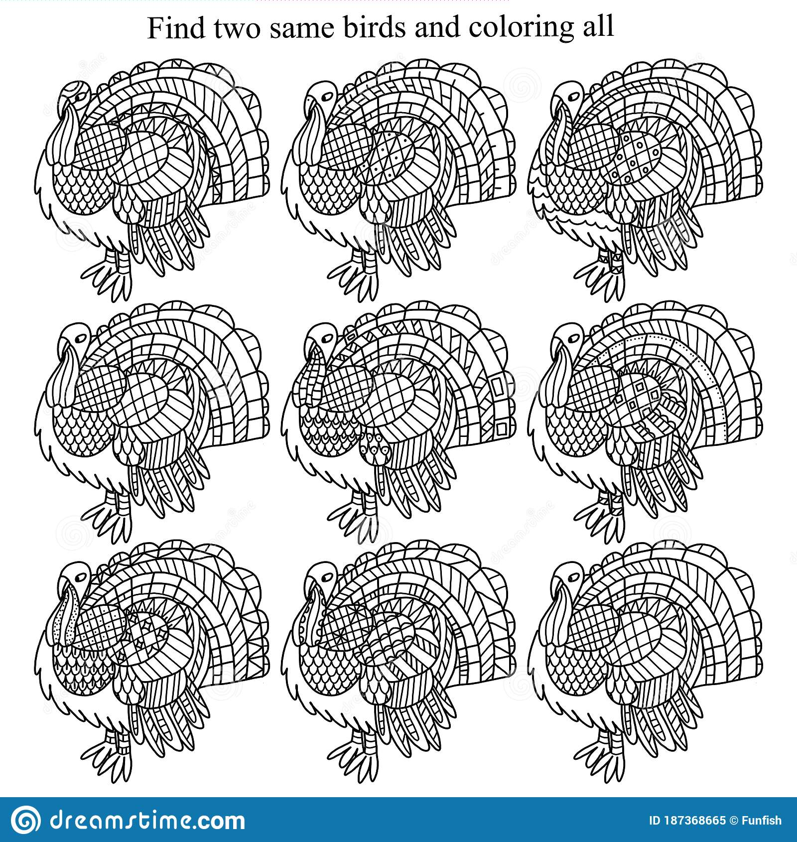 Find Two Same Turkey Birds And Coloring All Children