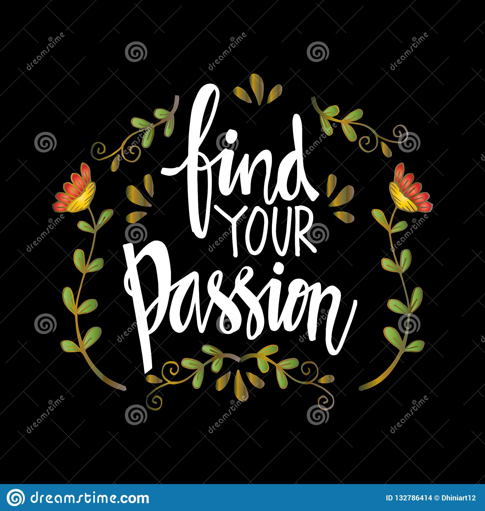 Find Your Passion Hand Written Lettering Inscription Stock