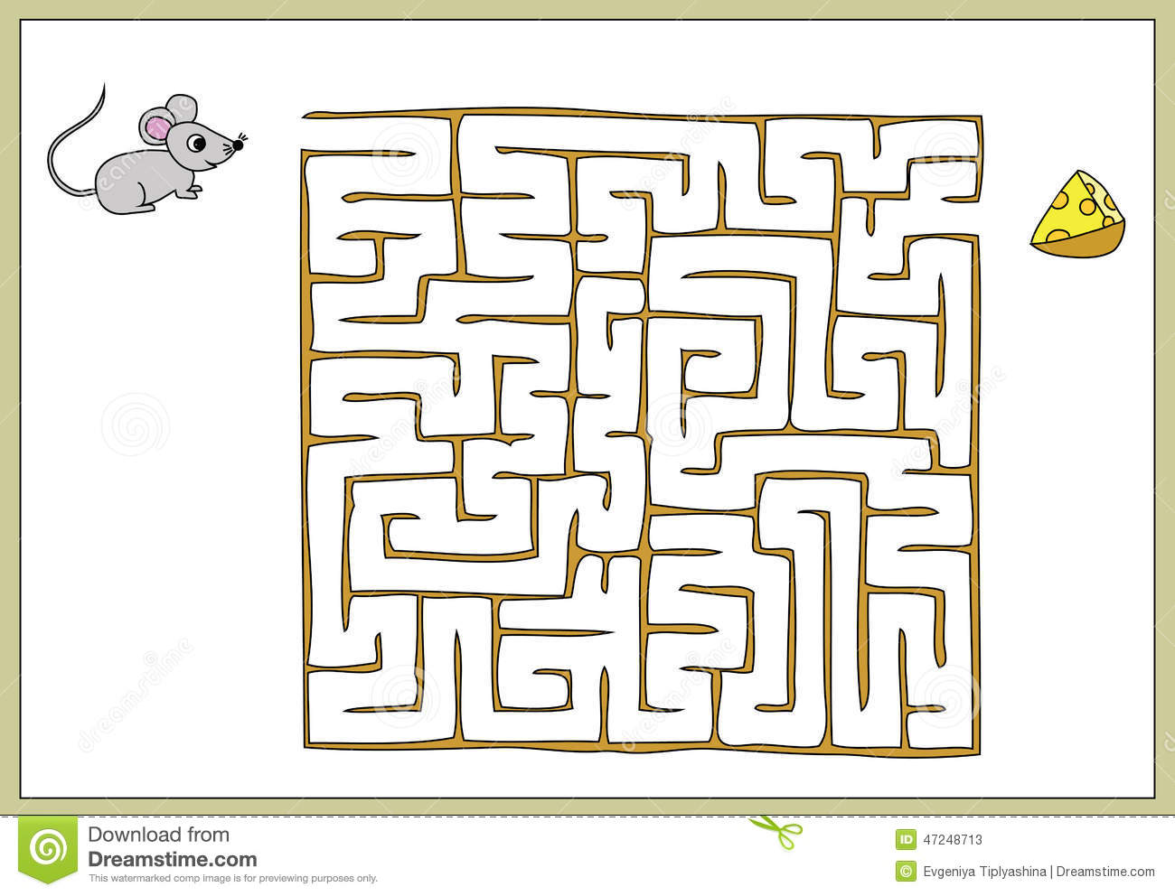 Find Your Way To The Cheese To The Mouse Stock Vector