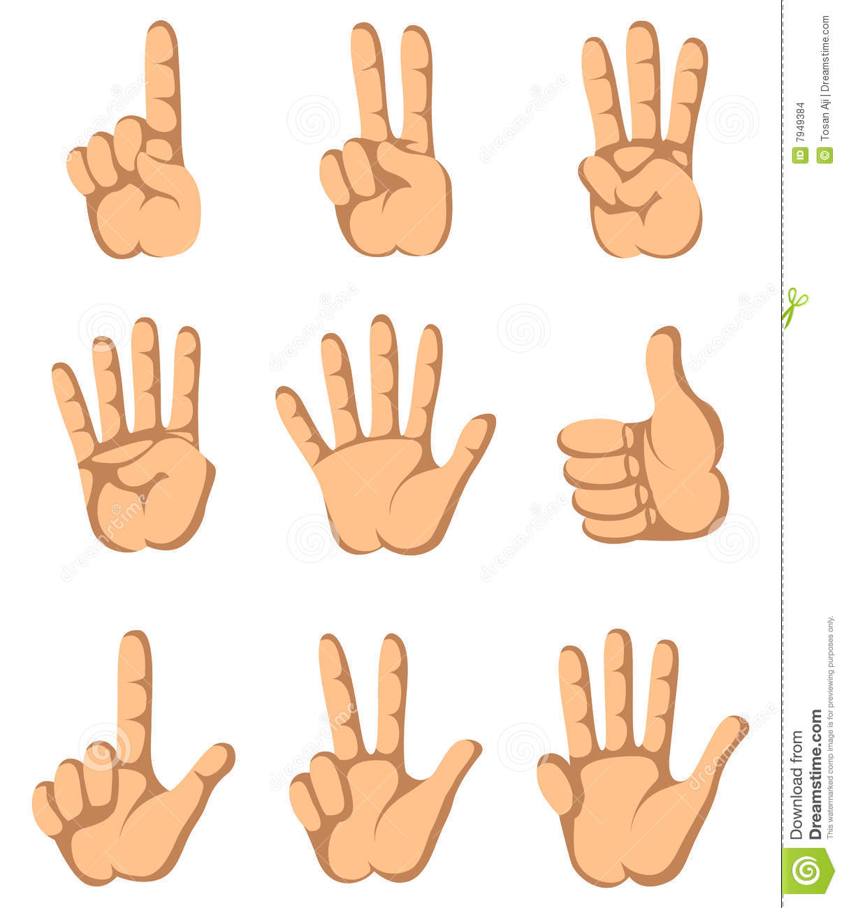 Finger Hand One To Nine Stock Vector Image Of Signal