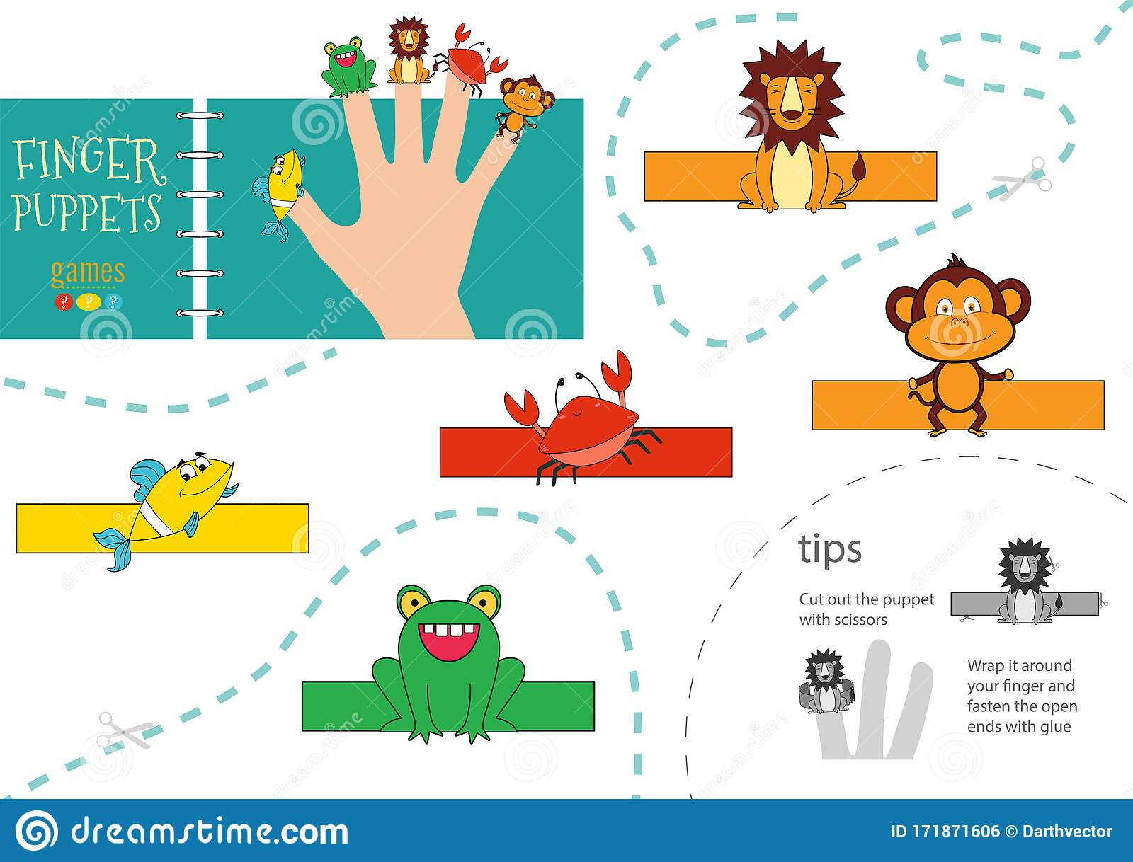 5 Finger Puppet Vector Animals Cut And Glue Educational