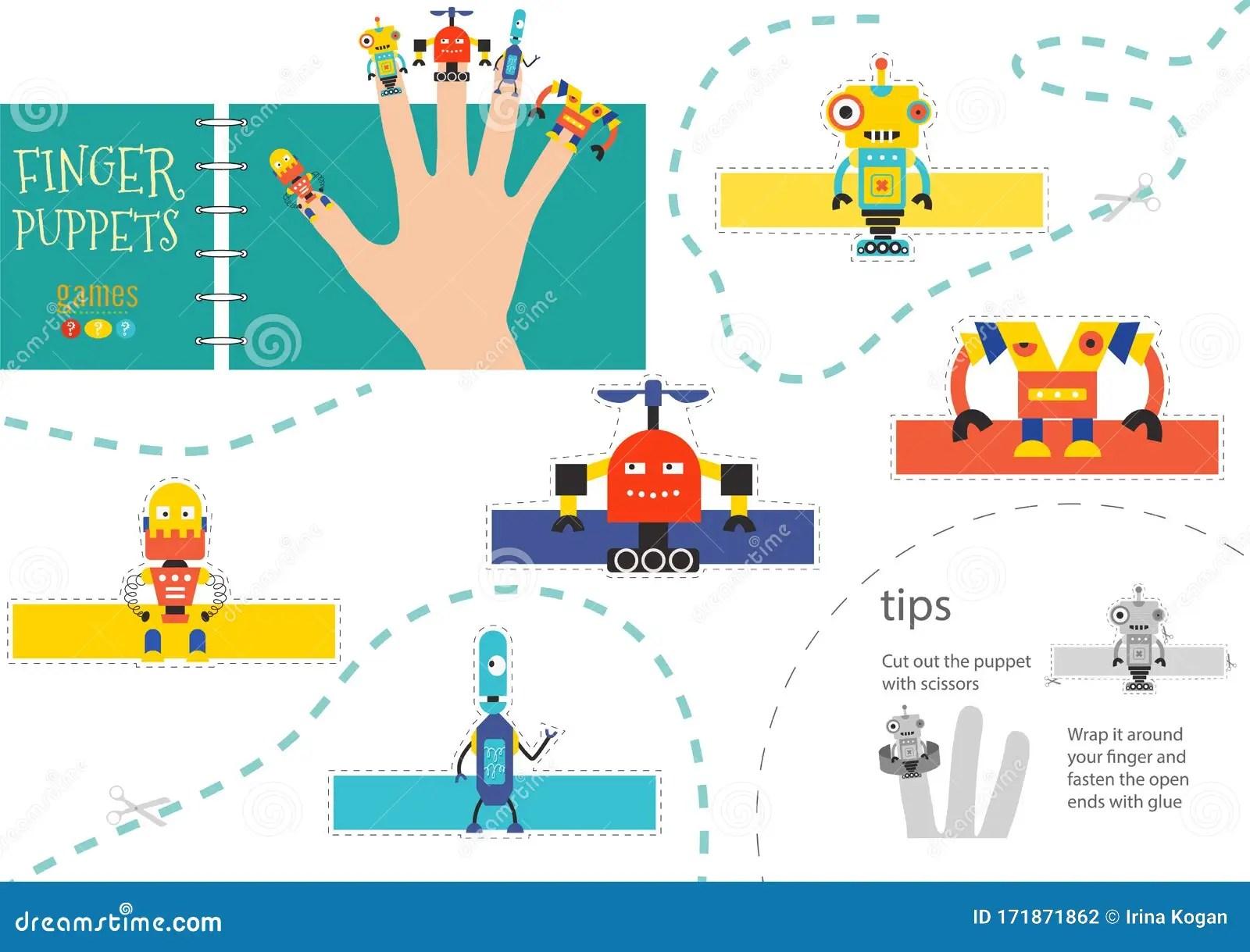 5 Finger Puppet Vector Robots Cut And Glue Educational