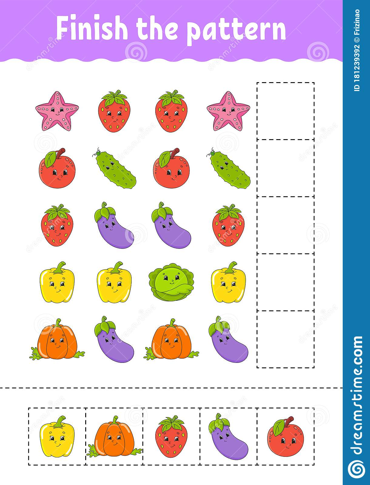 Finish The Pattern Cut And Play Fruits And Vegetables