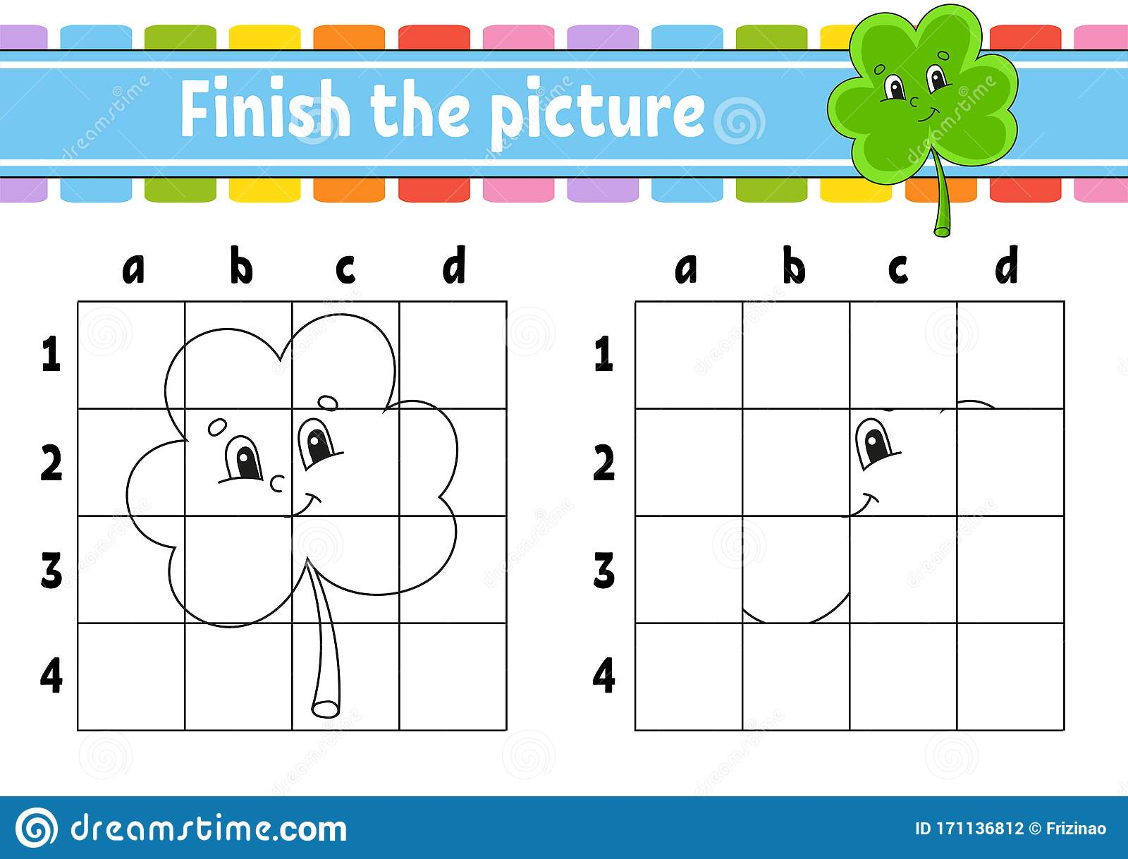 Finish The Picture Clover Shamrock Coloring Book Pages