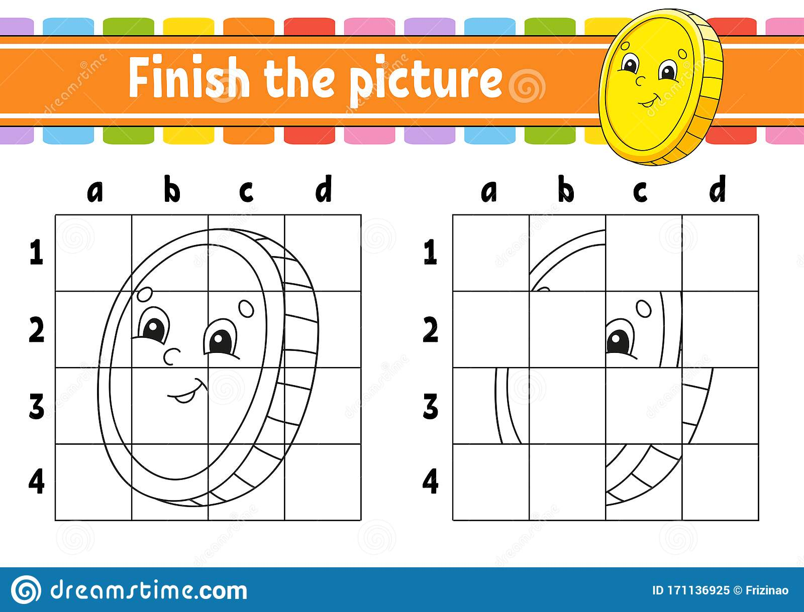 Finish The Picture Gold Coin Coloring Book Pages For