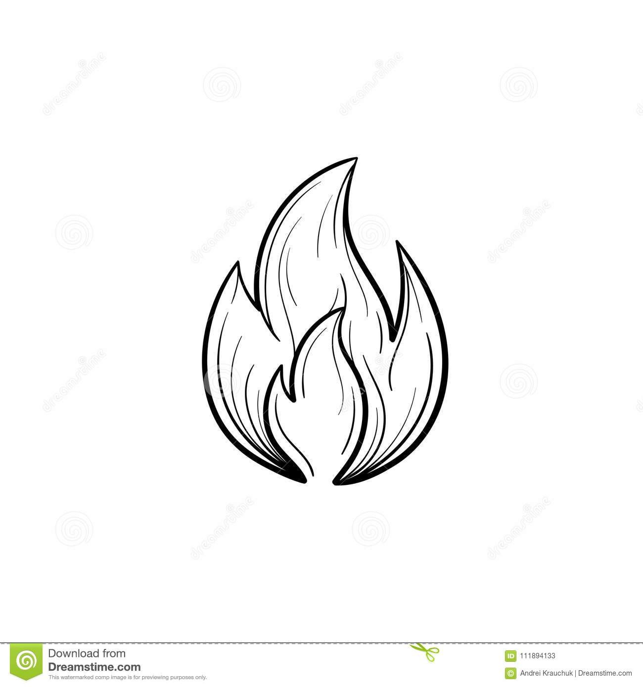 Fire Flame Hand Drawn Sketch Icon Stock Vector