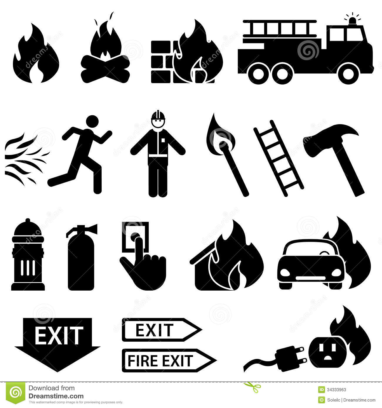 Fire Related Icon Set Stock Vector Illustration Of