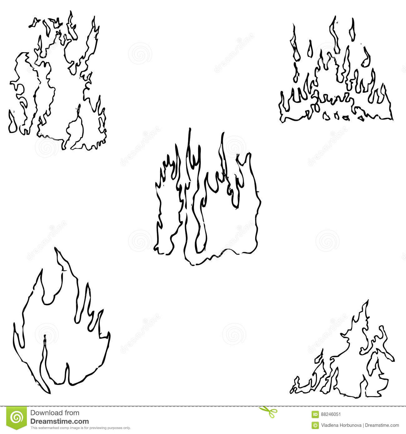 Fire Sketch By Hand Pencil Drawing By Hand Vector Image