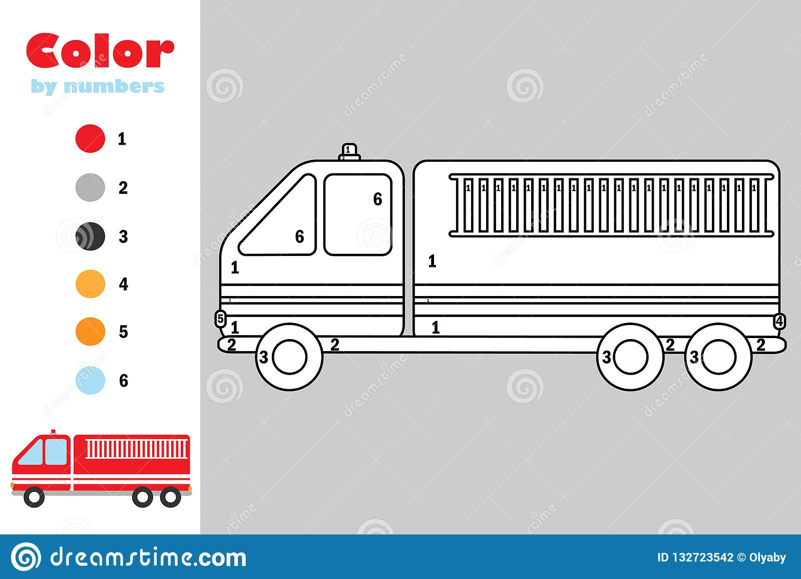 Fire Truck In Cartoon Style Color By Number Education