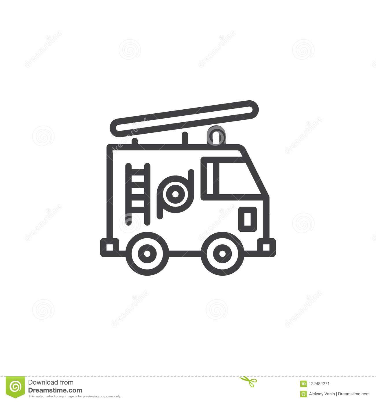 Fire Truck Outline Icon Stock Vector Illustration Of