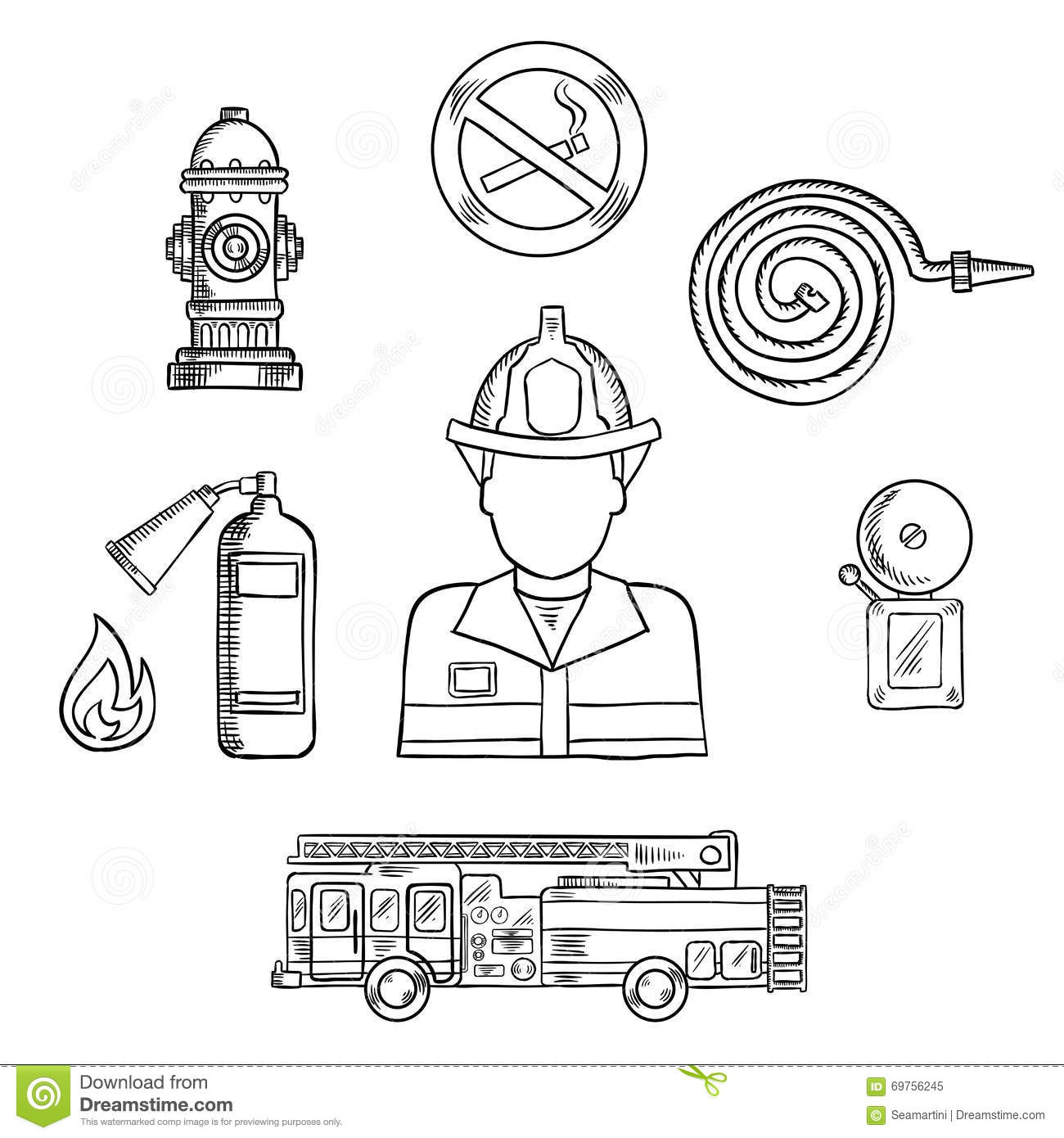 Firefighter With Fire Protection Sketch Symbols Stock
