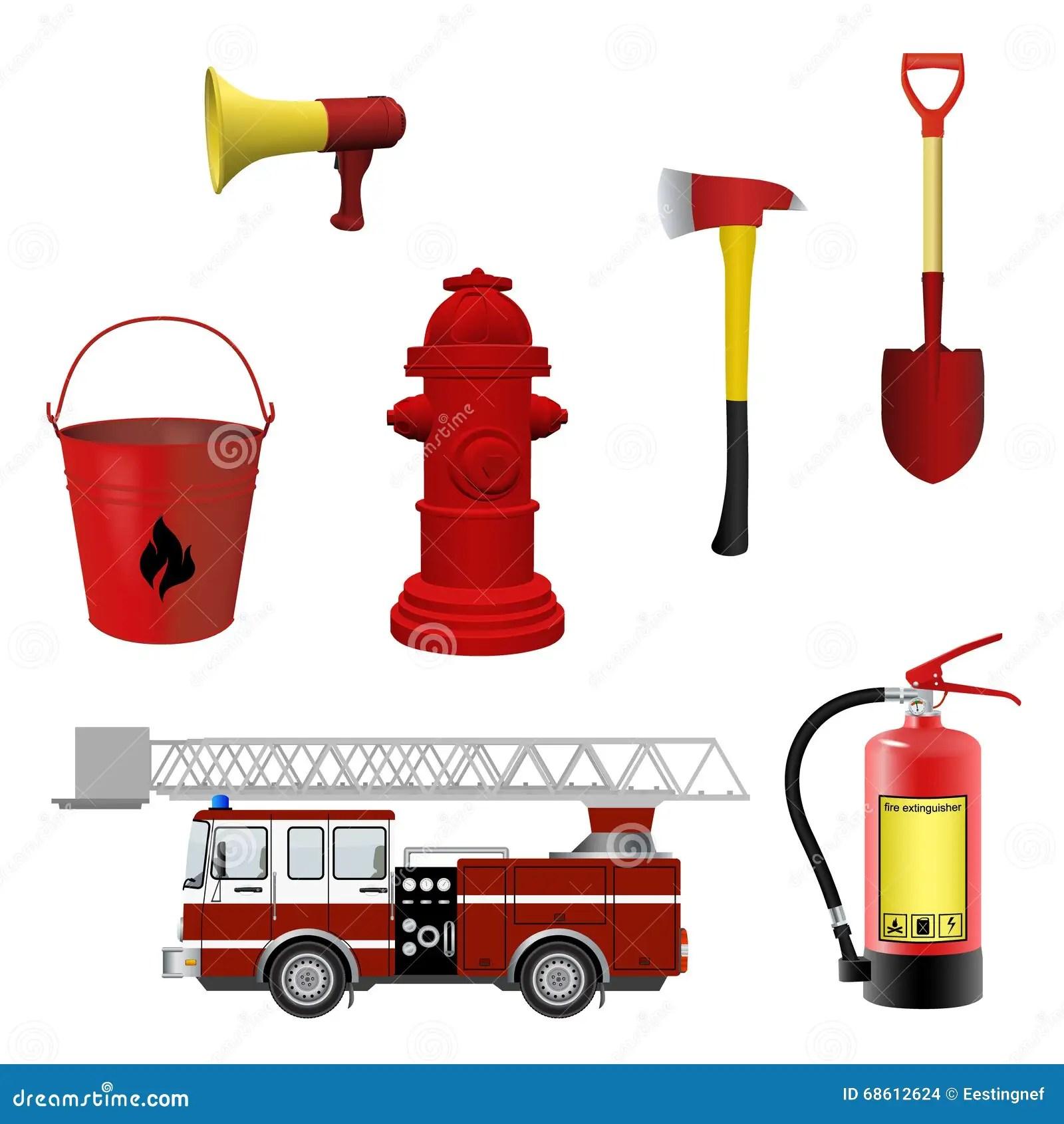 Firefighters Equipment Set Stock Vector