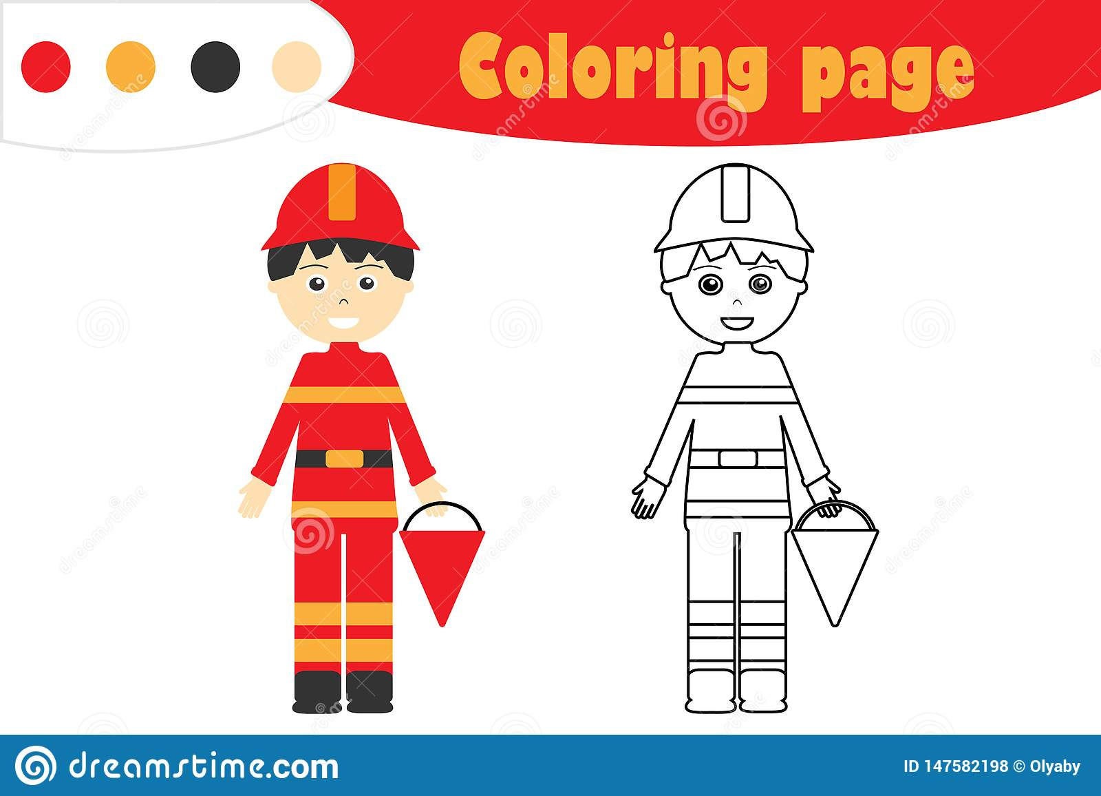 Fireman In Cartoon Style Coloring Page Education Paper
