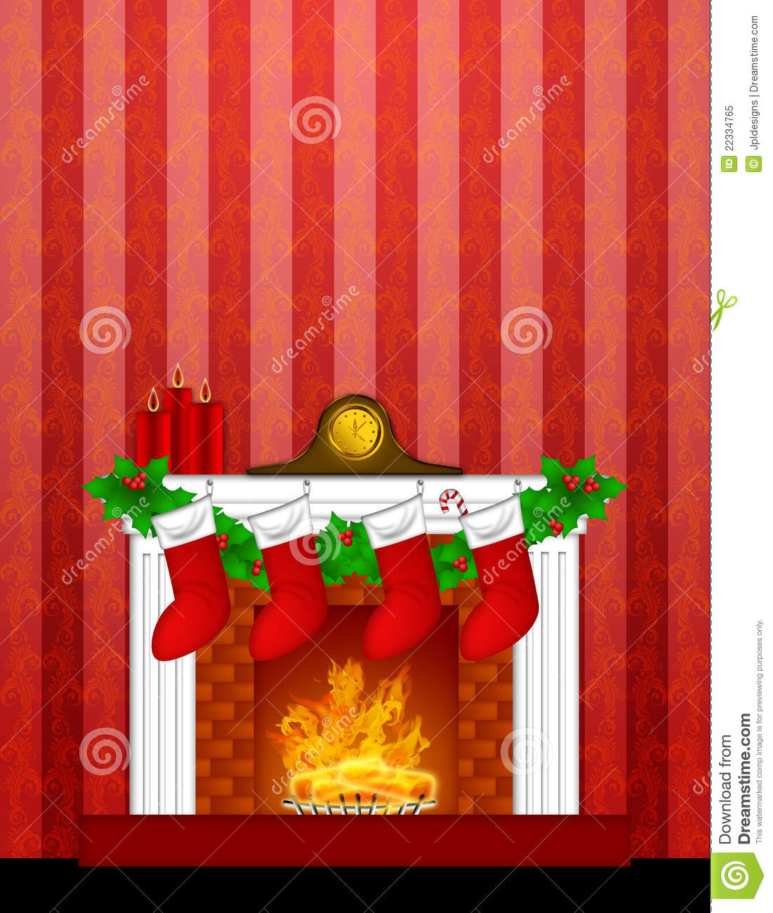 Fireplace Christmas Decoration Stockings Wallpaper Royalty