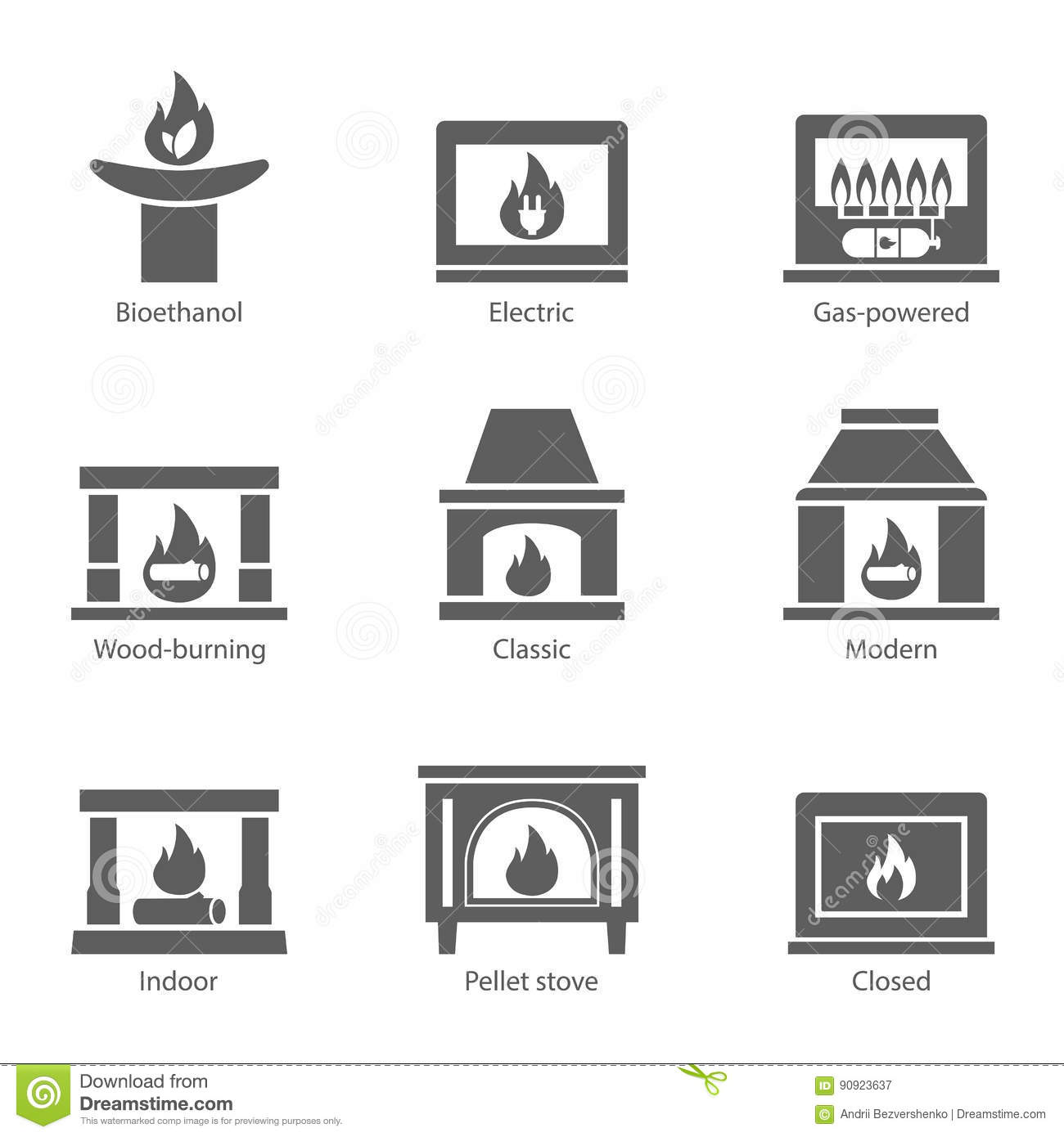 Fireplace Icons Set Vector Flat Sign Isolated On White