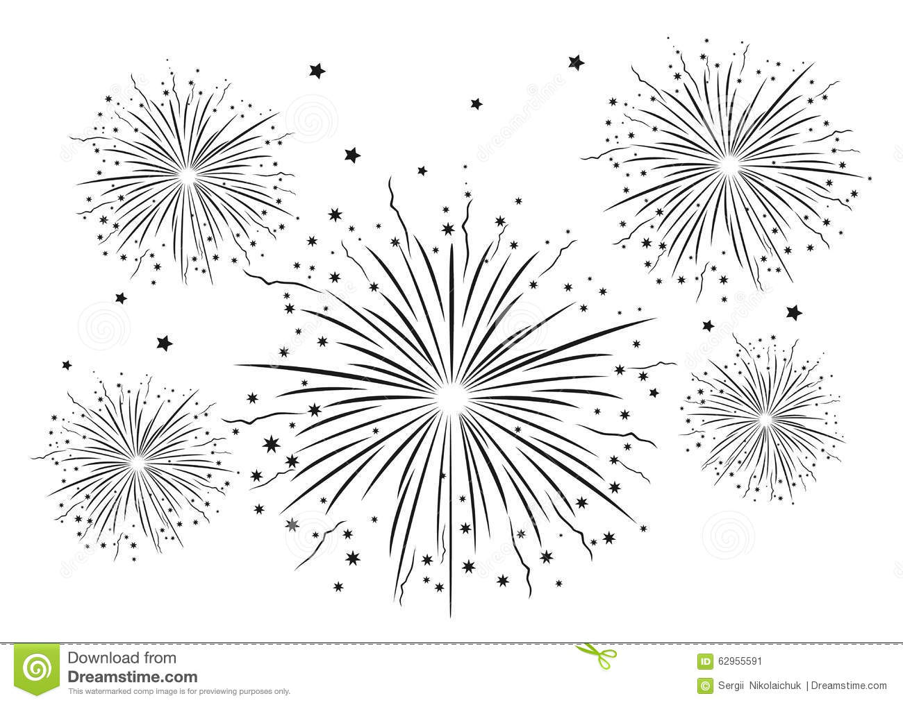 Fireworks Black And White Stock Vector