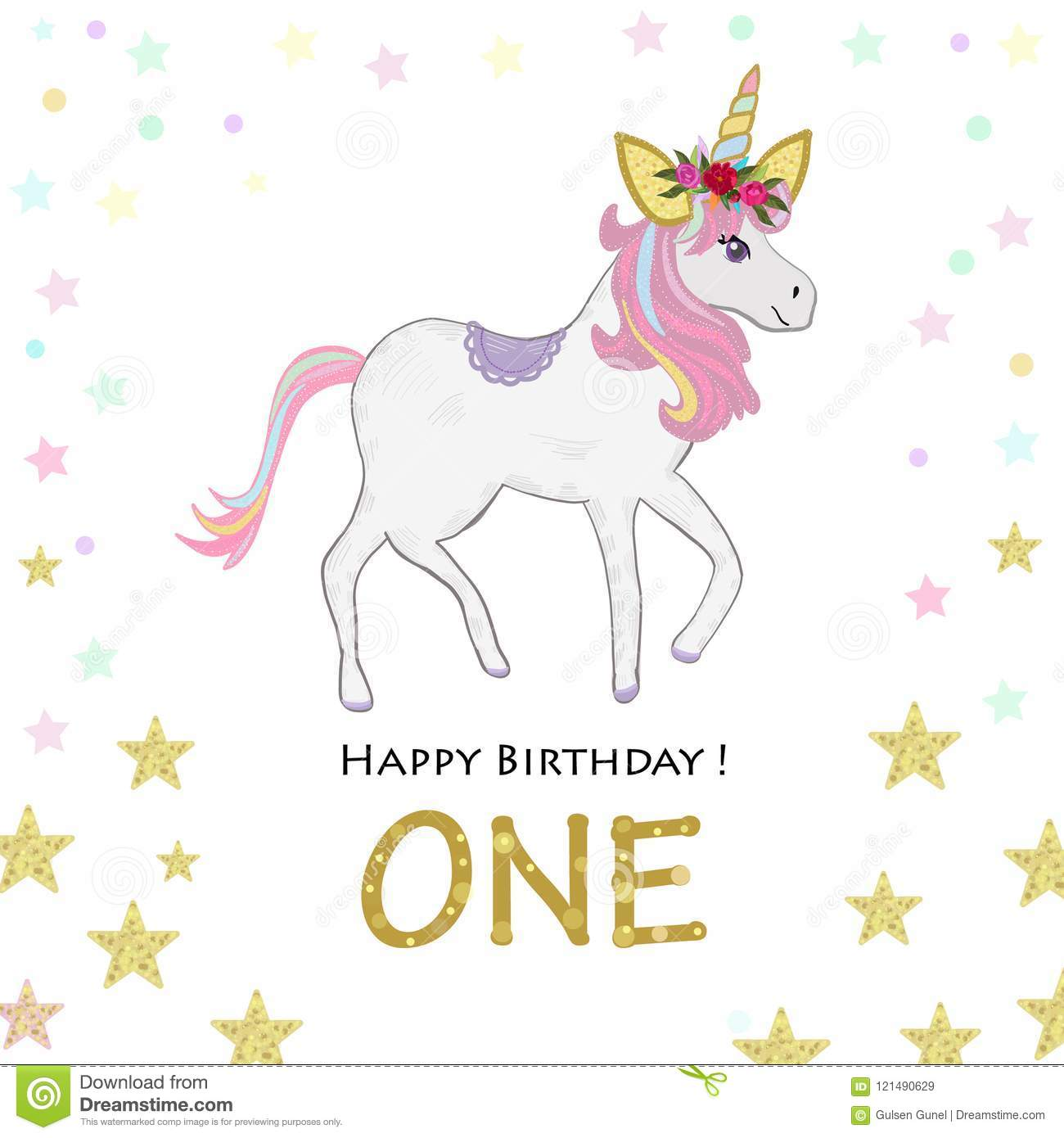 https www dreamstime com first birthday one unicorn invitation party greeting card background image121490629
