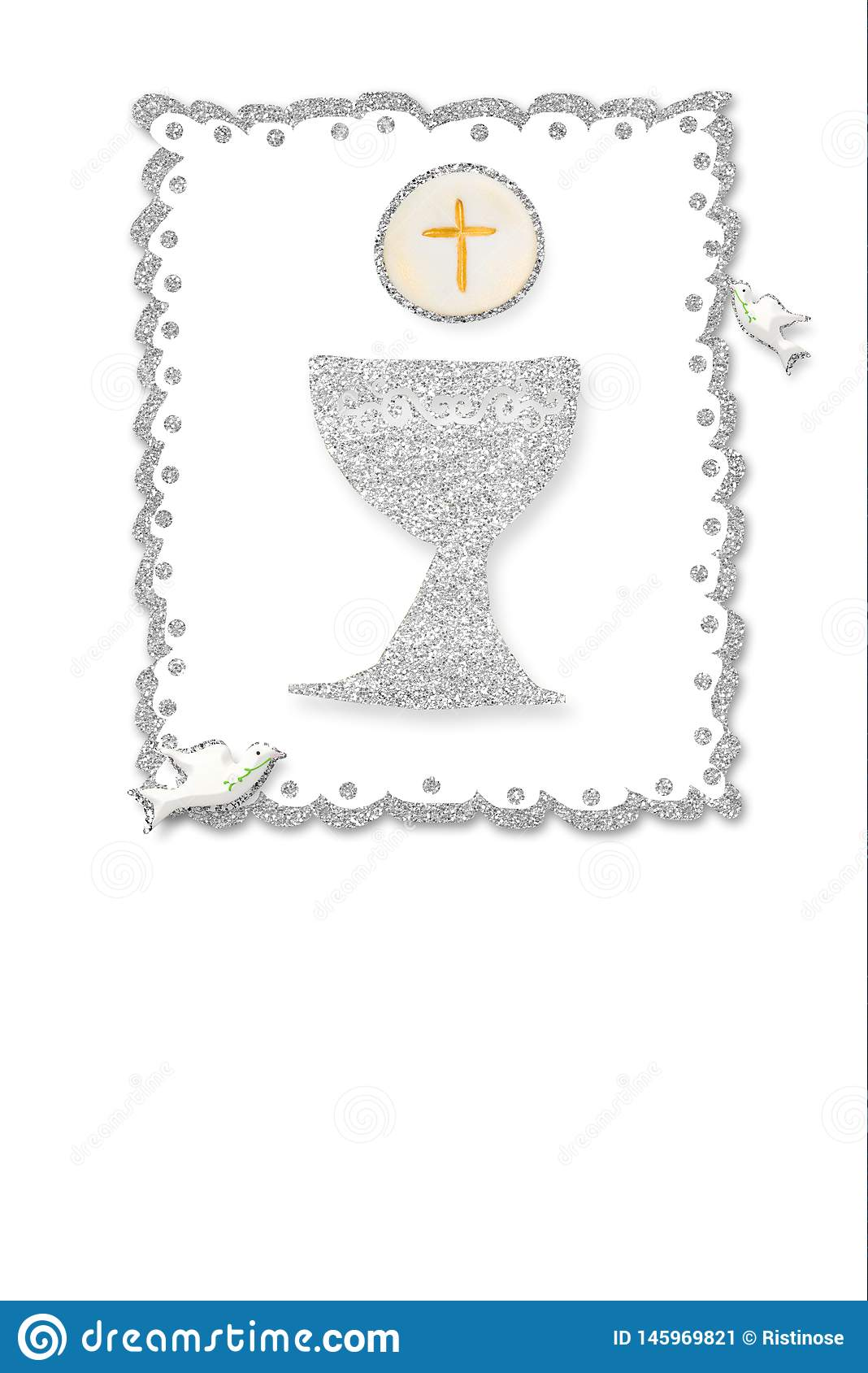 https www dreamstime com first holy communion invitation card silver chalice doves white paper background blank photo frame to text vertical image145969821