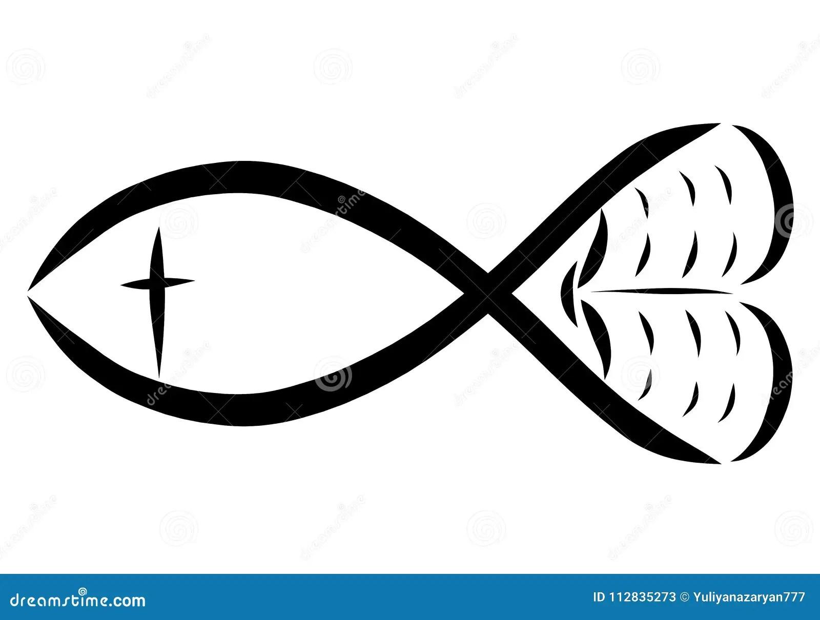 Fish Bible Cross And Heart Christian Symbols Stock