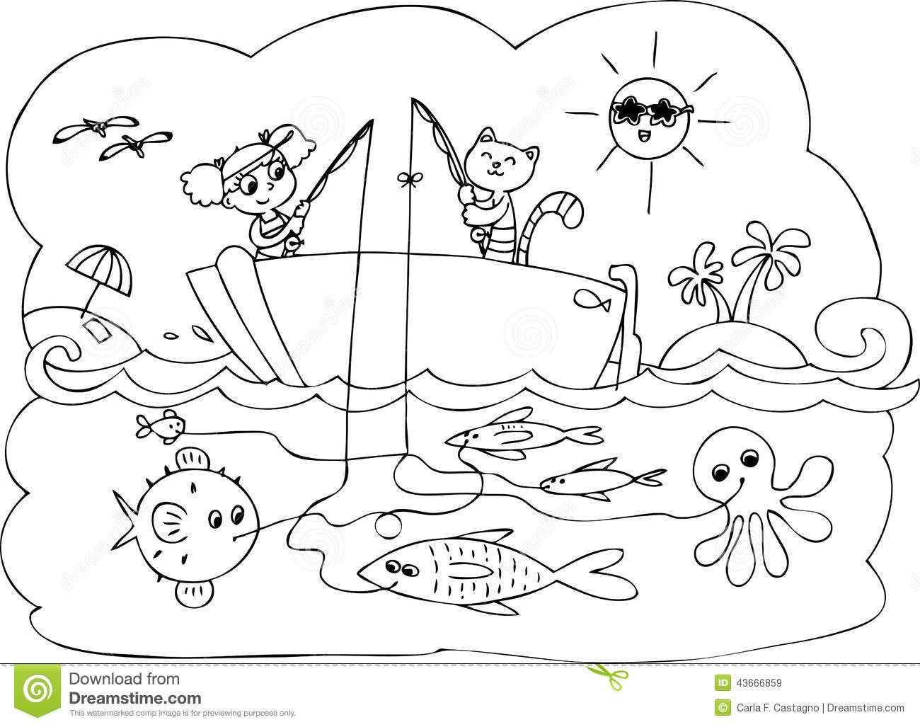 Fish Boat Game Vector Stock Vector Illustration Of Animal