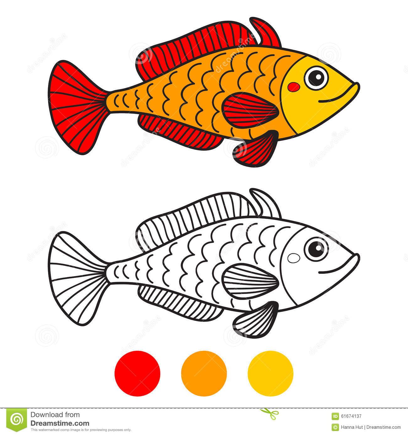 Fish Coloring Book Page Cartoon Vector Illustration